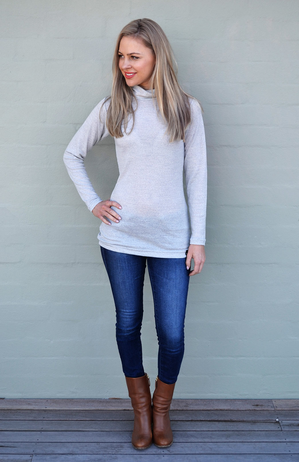 Polo Neck Top - Women's Light Grey Marl and Ivory Speckled Long Sleeved Polo Neck Top - Smitten Merino Tasmania Australia