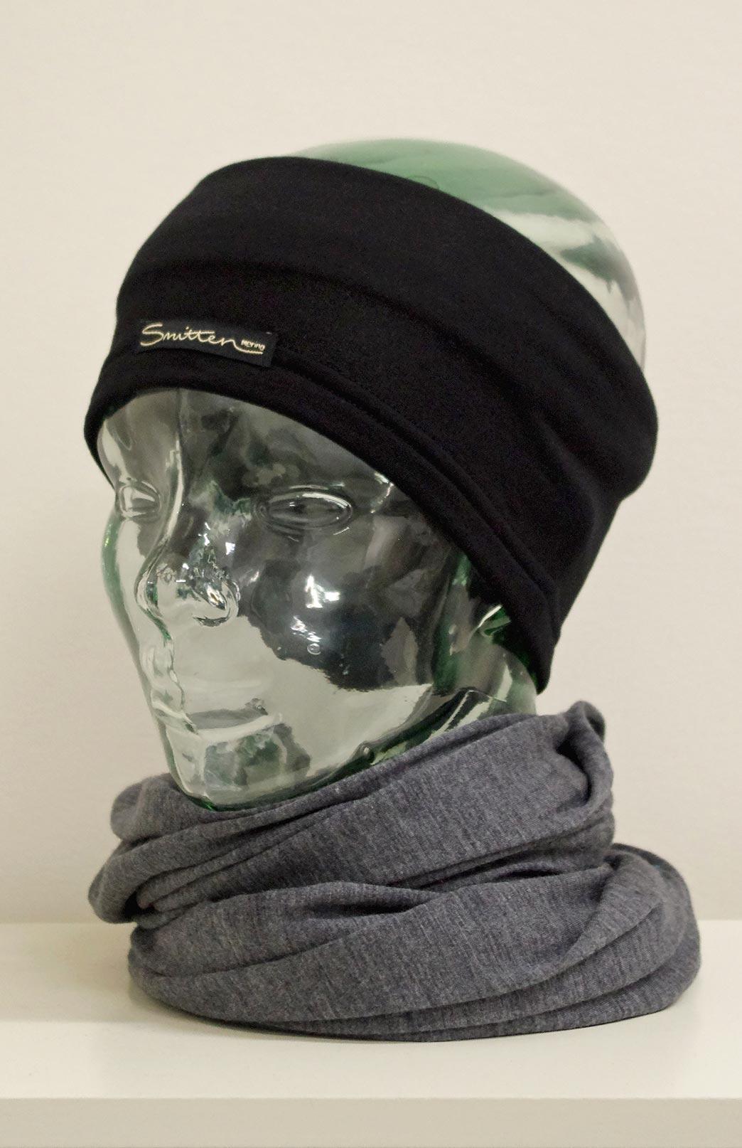 Headband / Ear Warmer - Unisex Black Fleece Merino Wool Headband and Ear Warmer - Smitten Merino Tasmania Australia