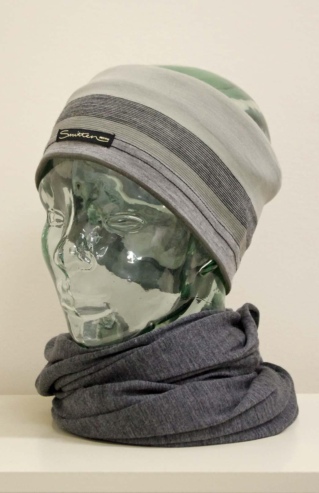 Headband / Ear Warmer - Unisex Black Grey Mutli Merino Wool Headband and Ear Warmer - Smitten Merino Tasmania Australia