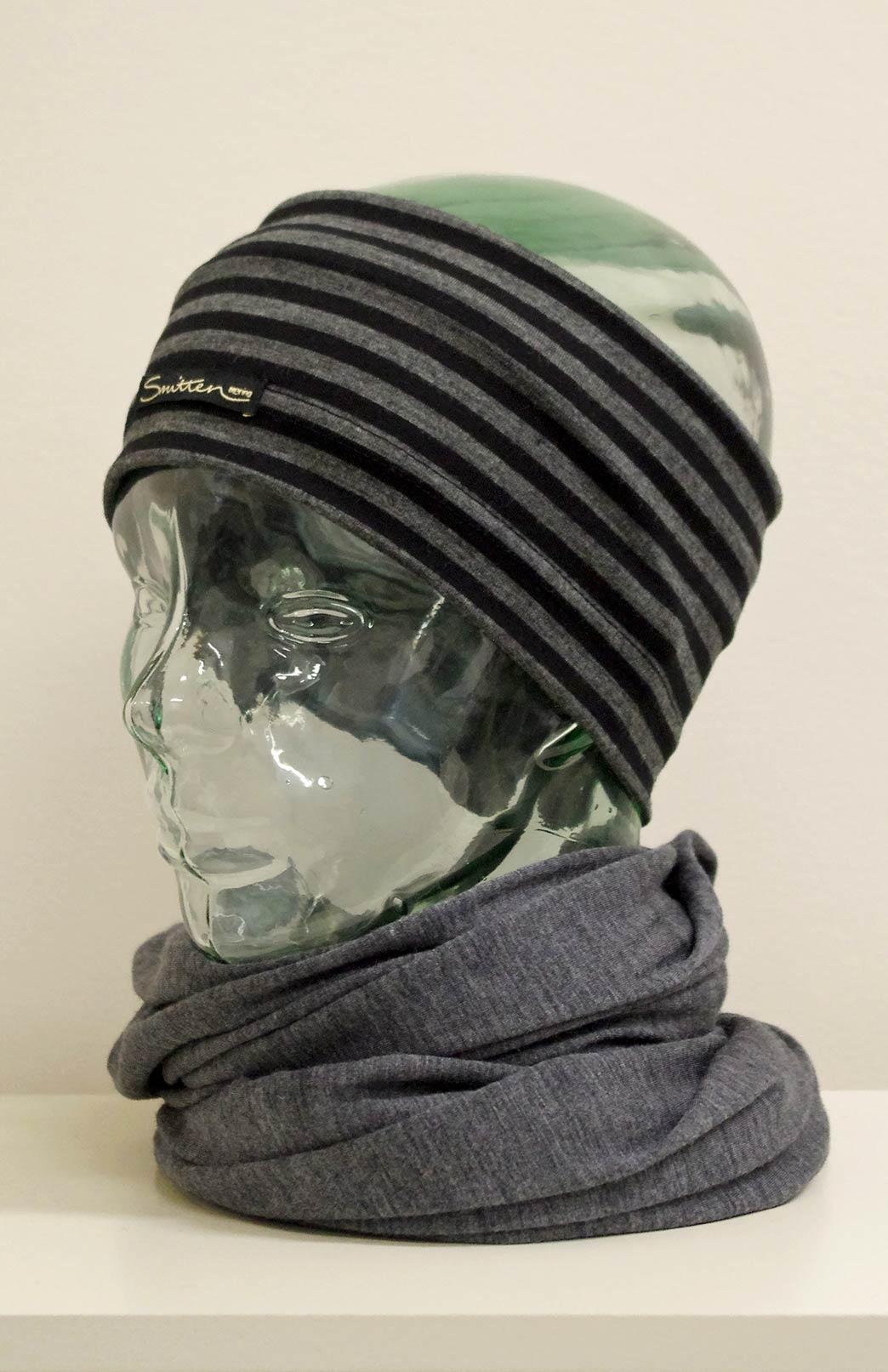 Headband / Ear Warmer - Unisex Black and Grey Stripe Merino Wool Headband and Ear Warmer - Smitten Merino Tasmania Australia