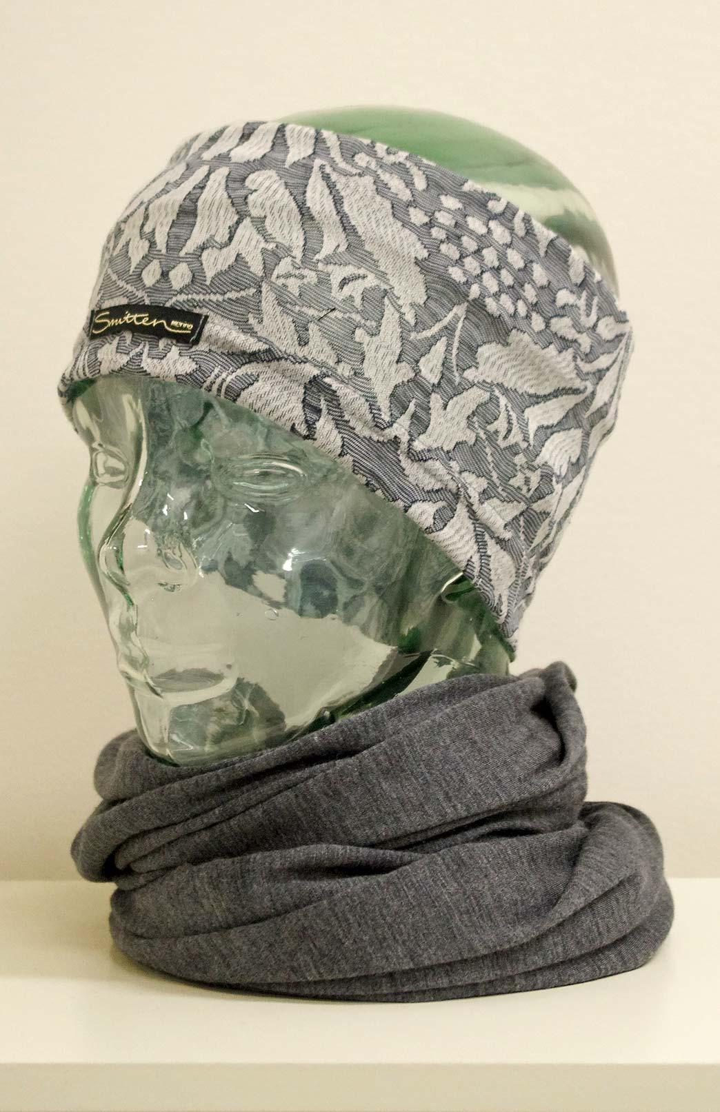 Headband / Ear Warmer - Unisex Blue Grey Abbey Floral Merino Wool Headband and Ear Warmer - Smitten Merino Tasmania Australia