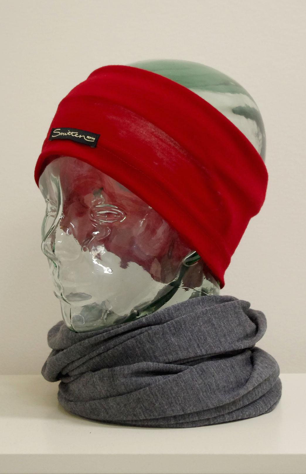 Headband / Ear Warmer - Unisex Chilli Red Merino Wool Headband and Ear Warmer - Smitten Merino Tasmania Australia