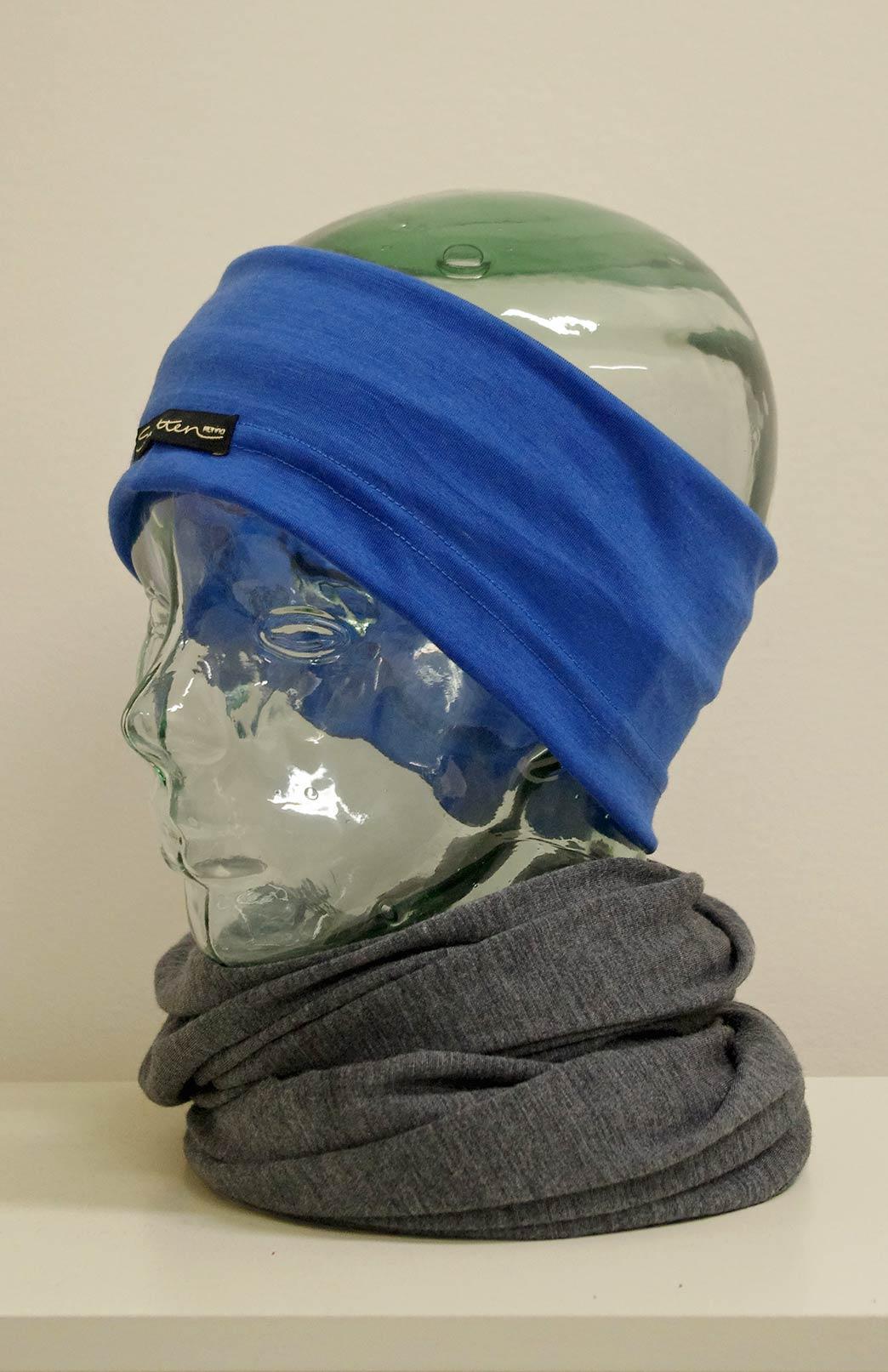 Headband / Ear Warmer - Unisex Electric Blue Merino Wool Headband and Ear Warmer - Smitten Merino Tasmania Australia
