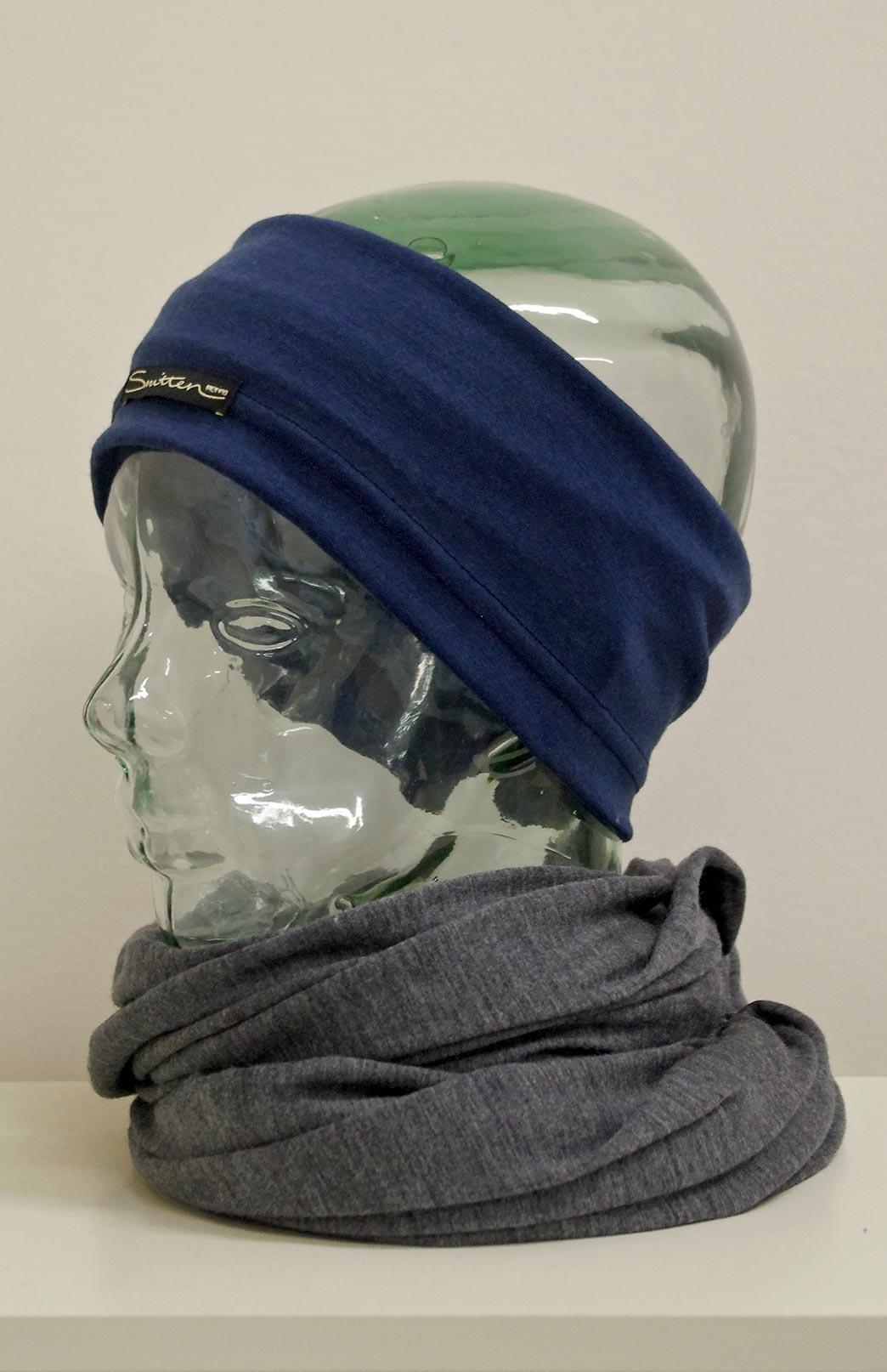 Headband / Ear Warmer - Unisex Indigo Blue Merino Wool Headband and Ear Warmer - Smitten Merino Tasmania Australia
