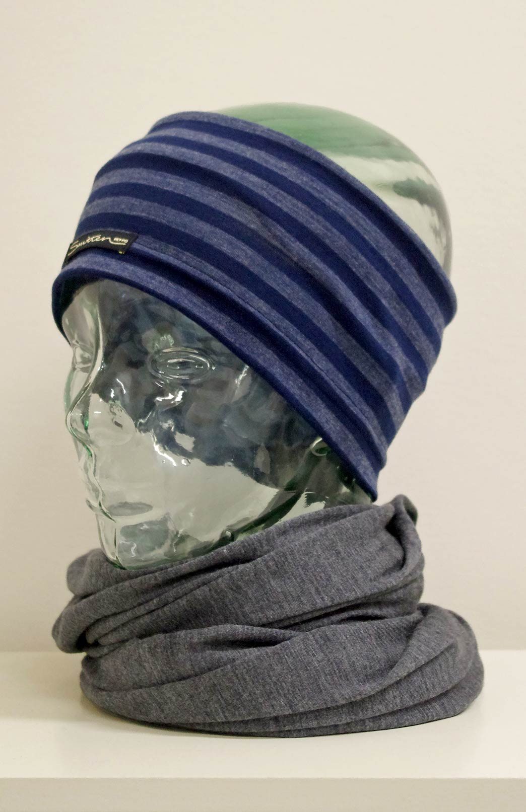 Headband / Ear Warmer - Unisex Indigo and Grey Stripe Merino Wool Headband and Ear Warmer - Smitten Merino Tasmania Australia