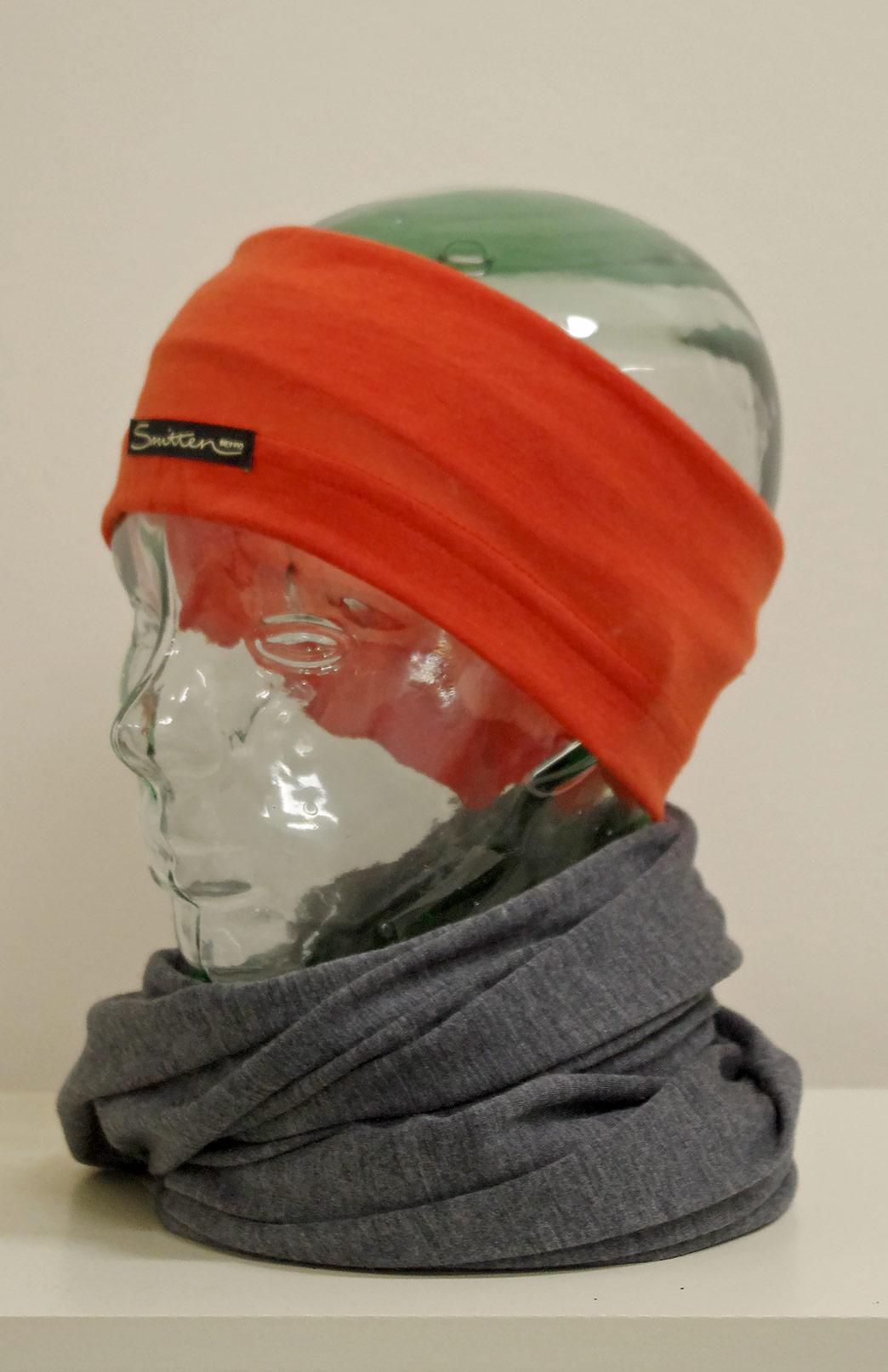 Headband / Ear Warmer - Unisex paprika Orange Stripe Merino Wool Headband and Ear Warmer - Smitten Merino Tasmania Australia