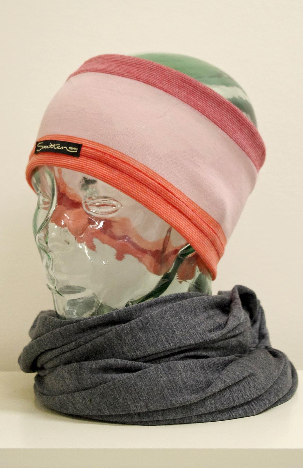 Headband / Ear Warmer - Unisex Pink Orange Multi Merino Wool Headband and Ear Warmer - Smitten Merino Tasmania Australia