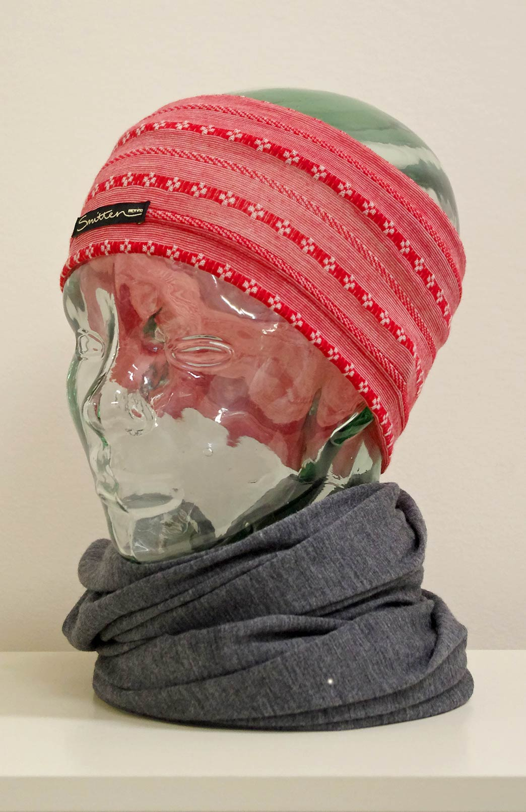 Headband / Ear Warmer - Unisex Red Pixie Merino Wool Headband and Ear Warmer - Smitten Merino Tasmania Australia