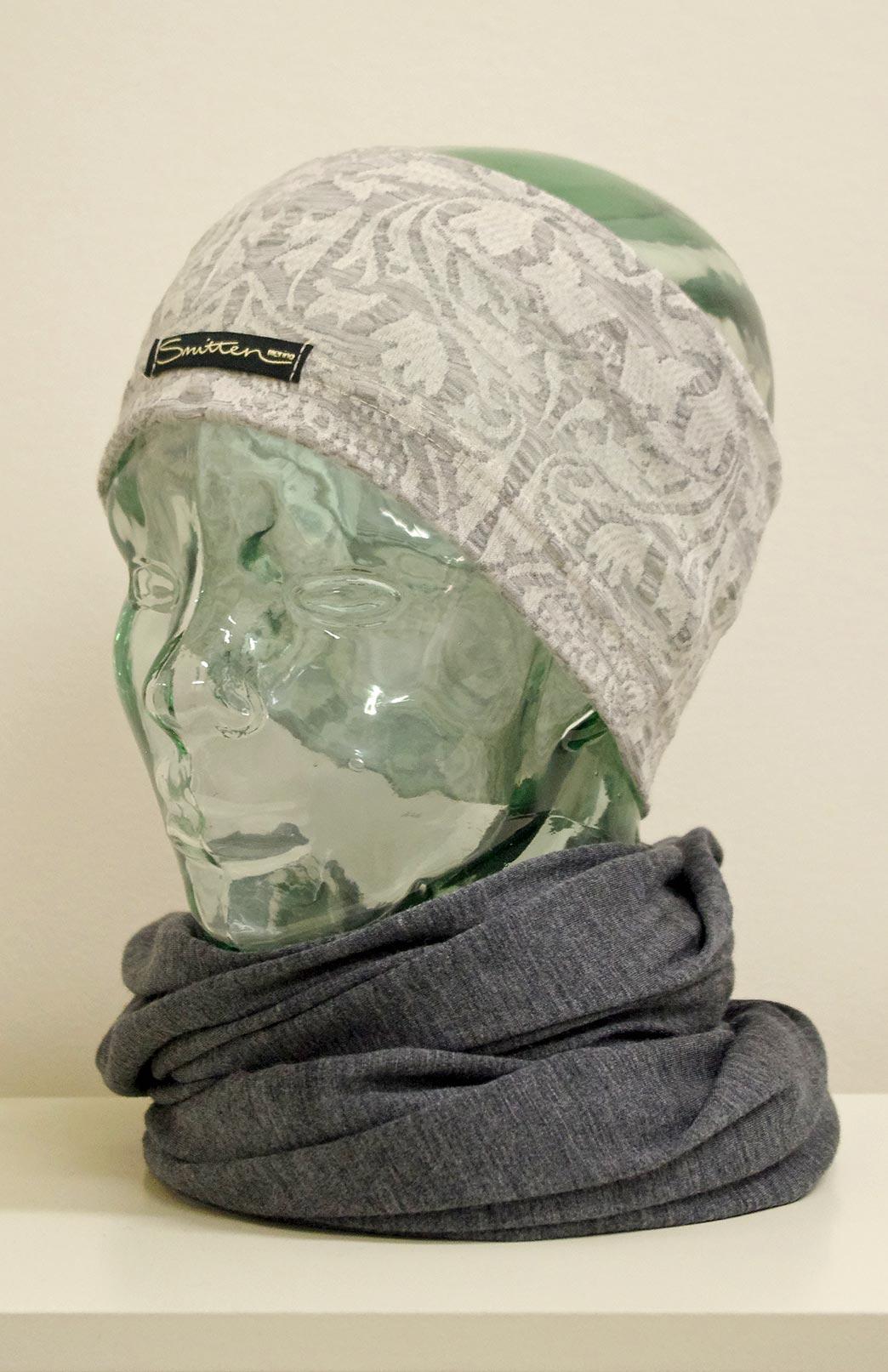 Headband / Ear Warmer - Unisex Soft Grey and White Floral Merino Wool Headband and Ear Warmer - Smitten Merino Tasmania Australia