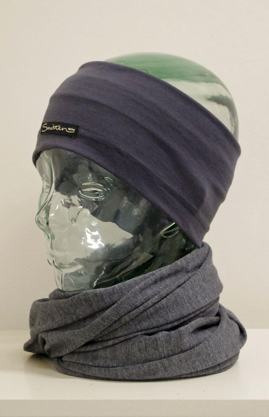 Headband / Ear Warmer - Unisex Steel Grey Stripe Merino Wool Headband and Ear Warmer - Smitten Merino Tasmania Australia