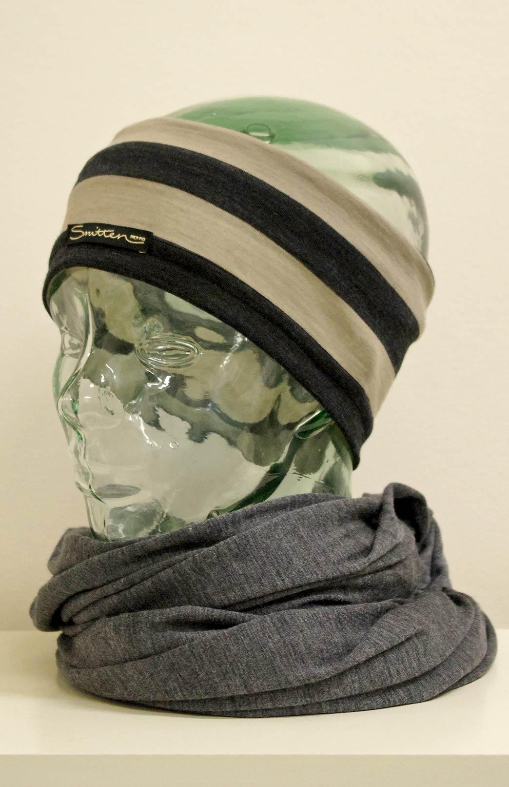 Headband / Ear Warmer - Unisex Taupe Charcoal Stripe Merino Wool Headband and Ear Warmer - Smitten Merino Tasmania Australia