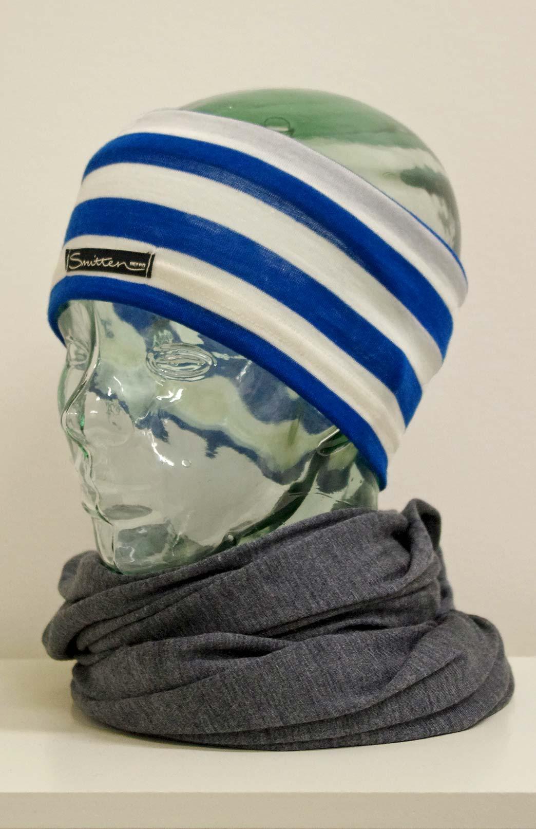Headband / Ear Warmer - Unisex Teal Ivory Stripe Merino Wool Headband and Ear Warmer - Smitten Merino Tasmania Australia