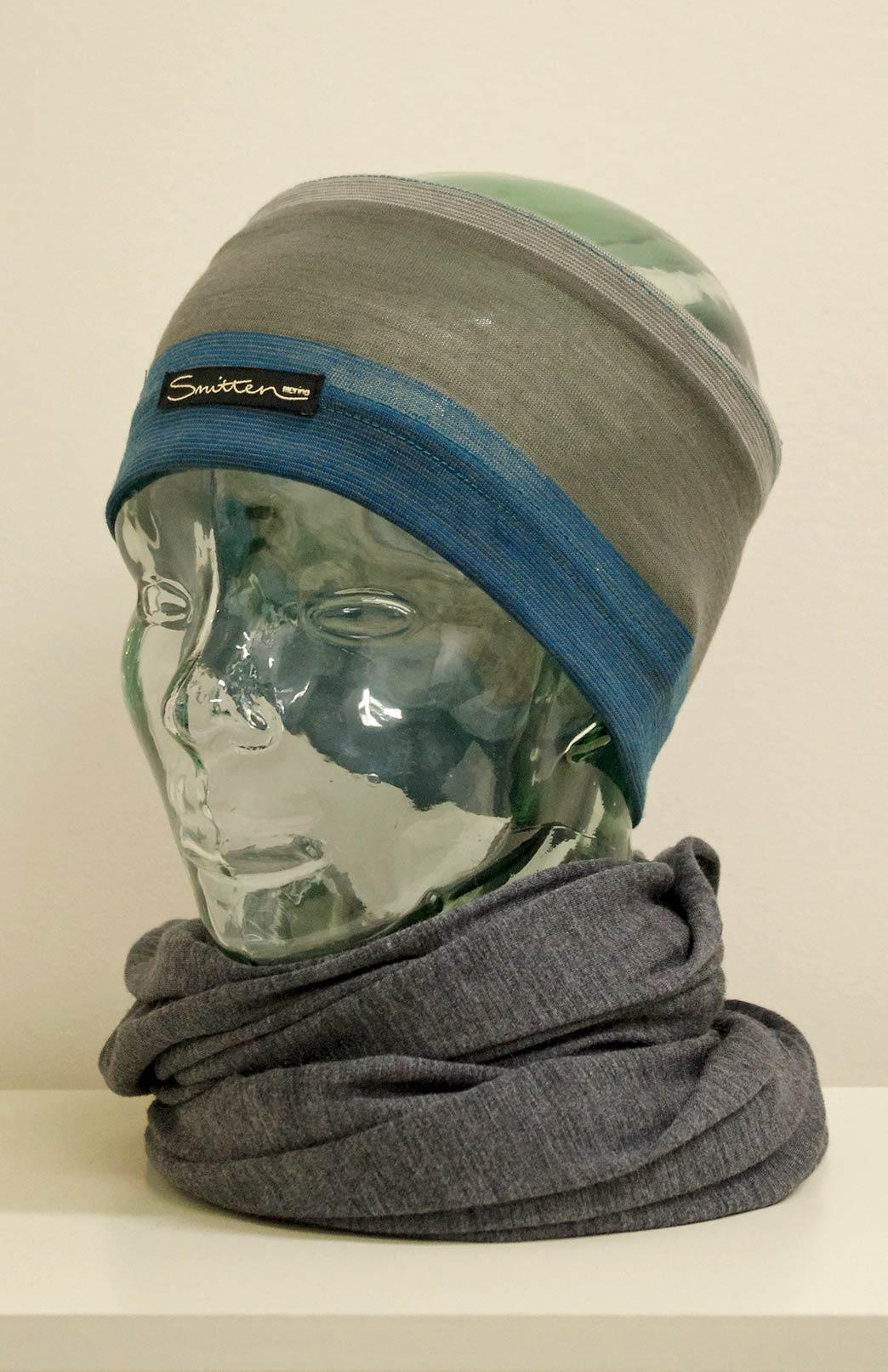 Headband / Ear Warmer - Unisex Teal Multi Stripe Merino Wool Headband and Ear Warmer - Smitten Merino Tasmania Australia