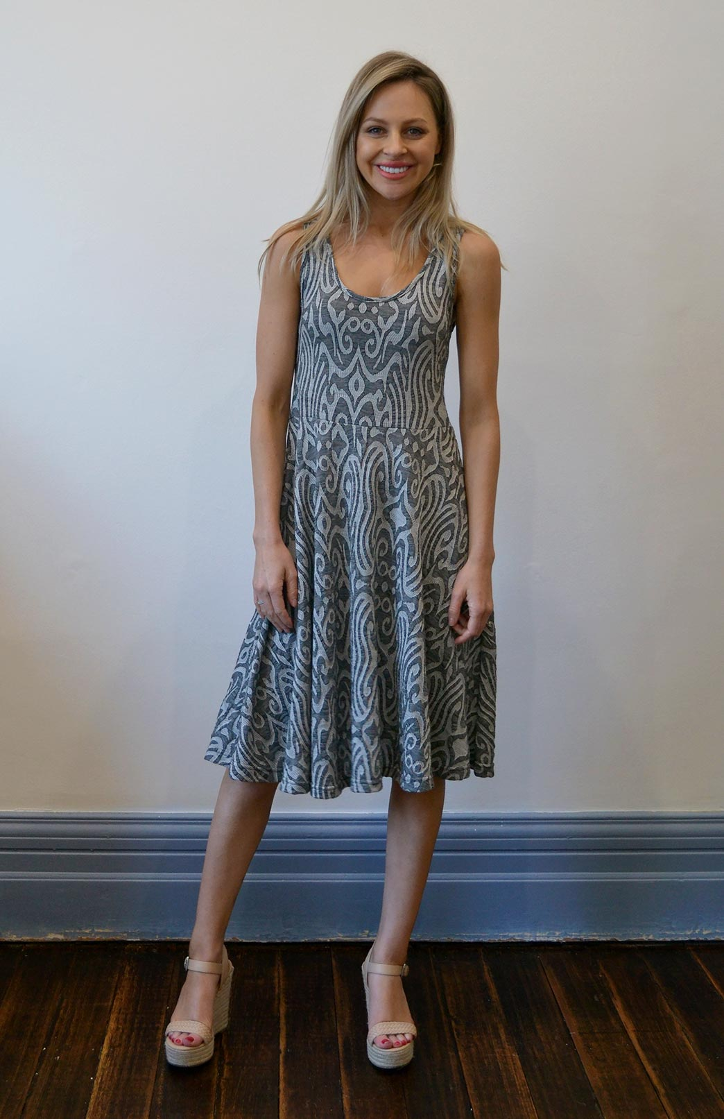 Sleeveless Jackie Dress - Women's Patterned Merino Wool Sleeveless Summer Dress - Smitten Merino Tasmania Australia