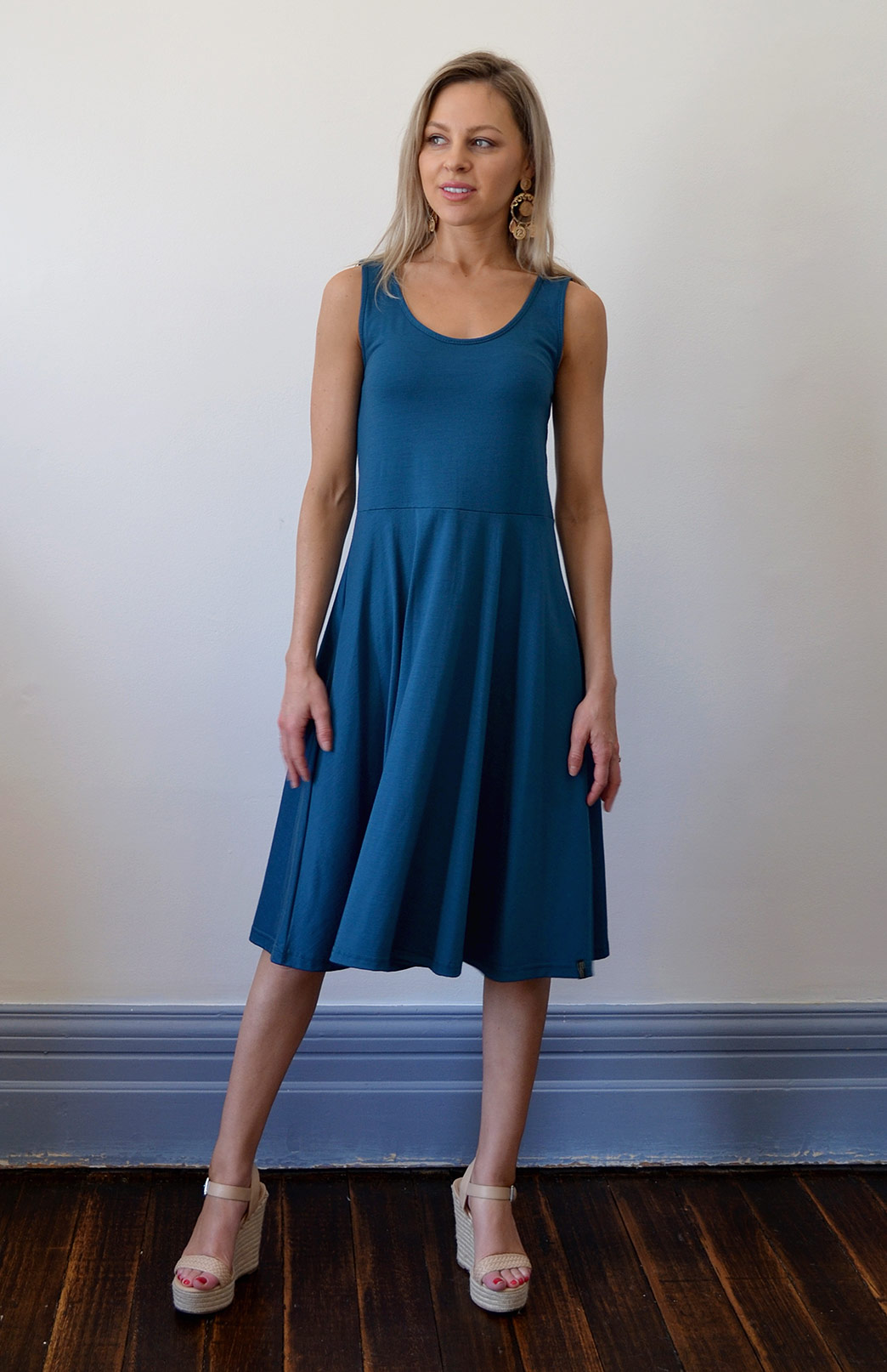Jackie Dress - Sleeveless - Women's Storm Teal Sleeveless Jackie Dress with Waist Seam and Flared Skirt - Smitten Merino Tasmania Australia