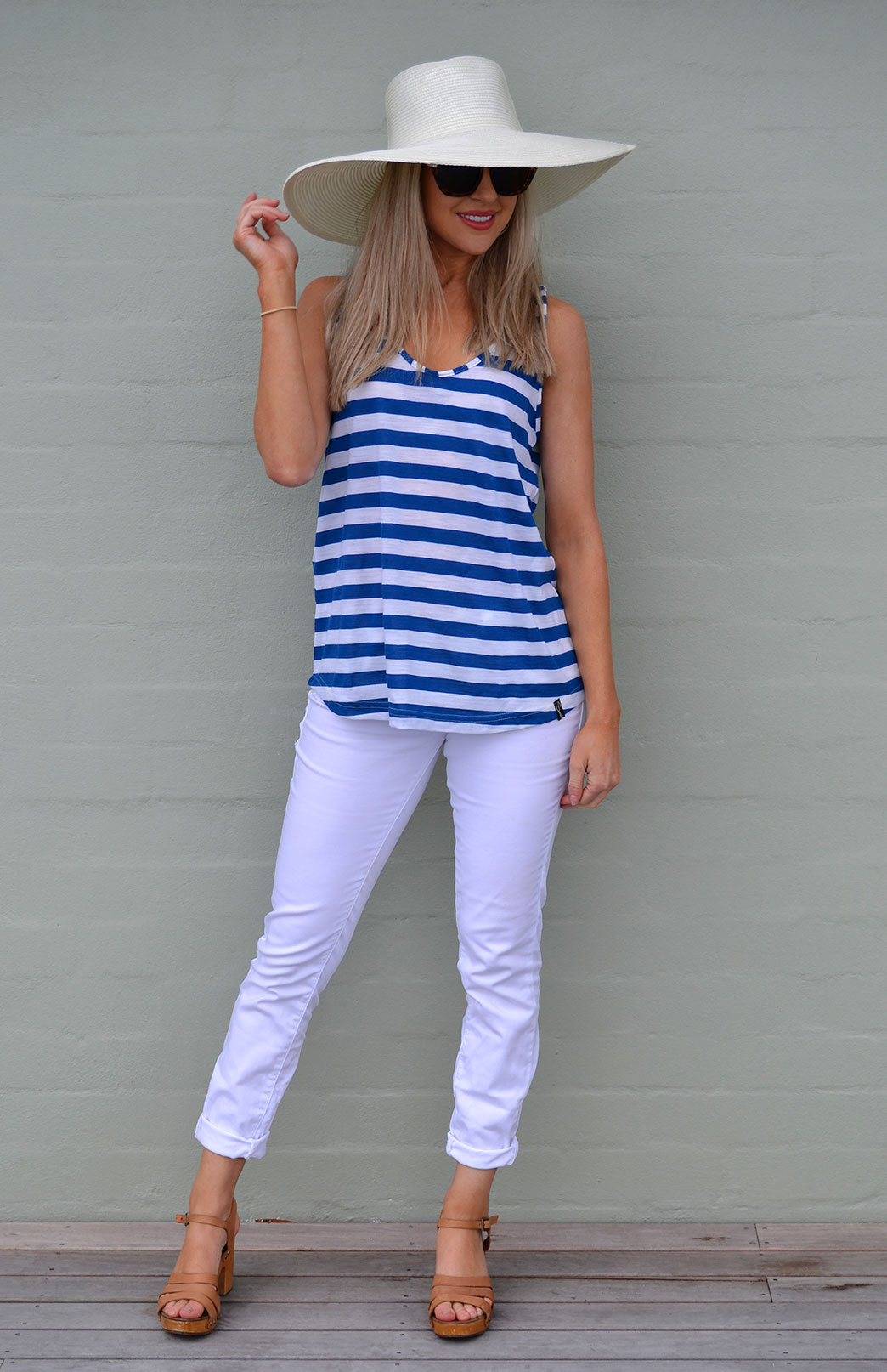 Tank Top - Women's Blue Ivory Stripe Wool Summer Tank Top - Smitten Merino Tasmania Australia