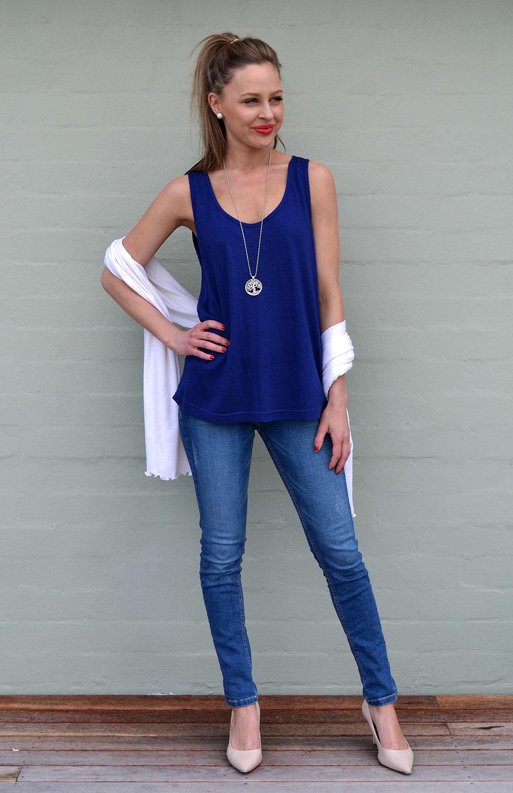 Tank Top - Women's Sapphire Blue Wool Summer Tank Top - Smitten Merino Tasmania Australia