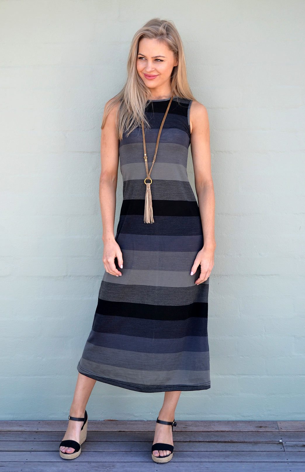 Multi Stripe Boat Neck Maxi Dress - Smitten Merino Tasmania Australia