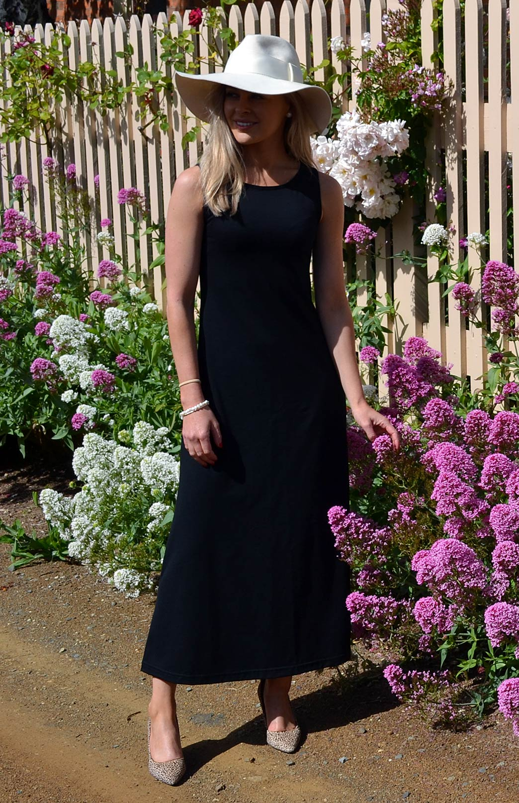 Boat Neck Maxi Dress - Women's Black Boat Neck Long Summer Maxi Dress - Smitten Merino Tasmania Australia