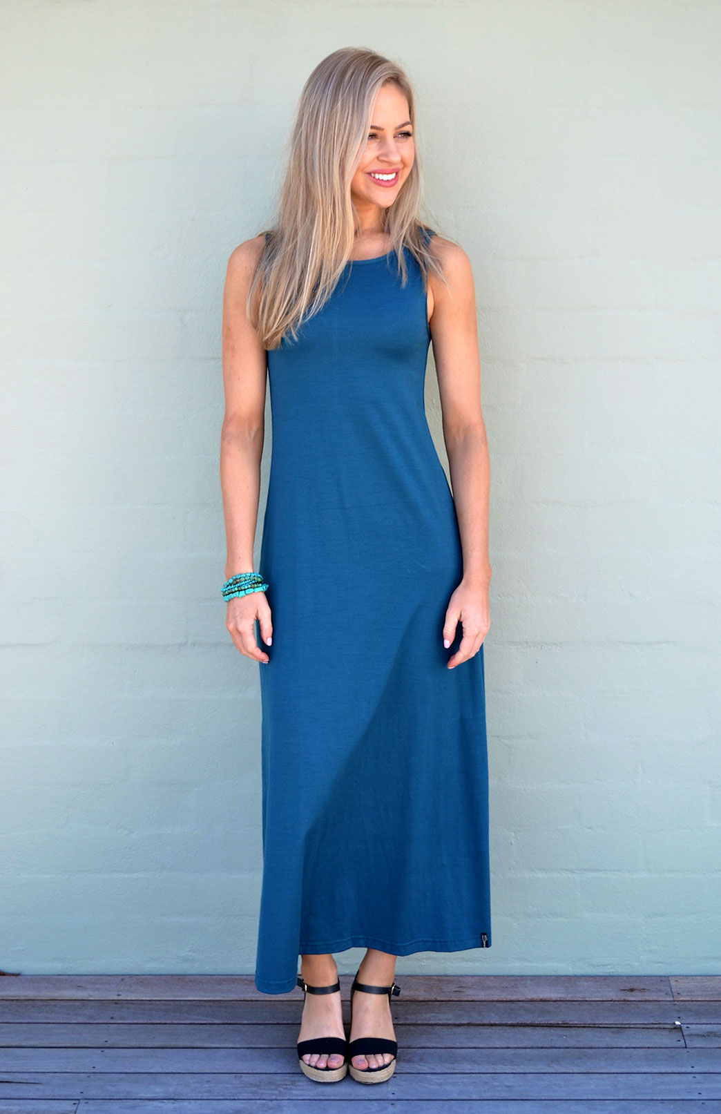 Boat Neck Maxi Dress - Women's Teal Long Summer Maxi Wool Dress - Smitten Merino Tasmania Australia
