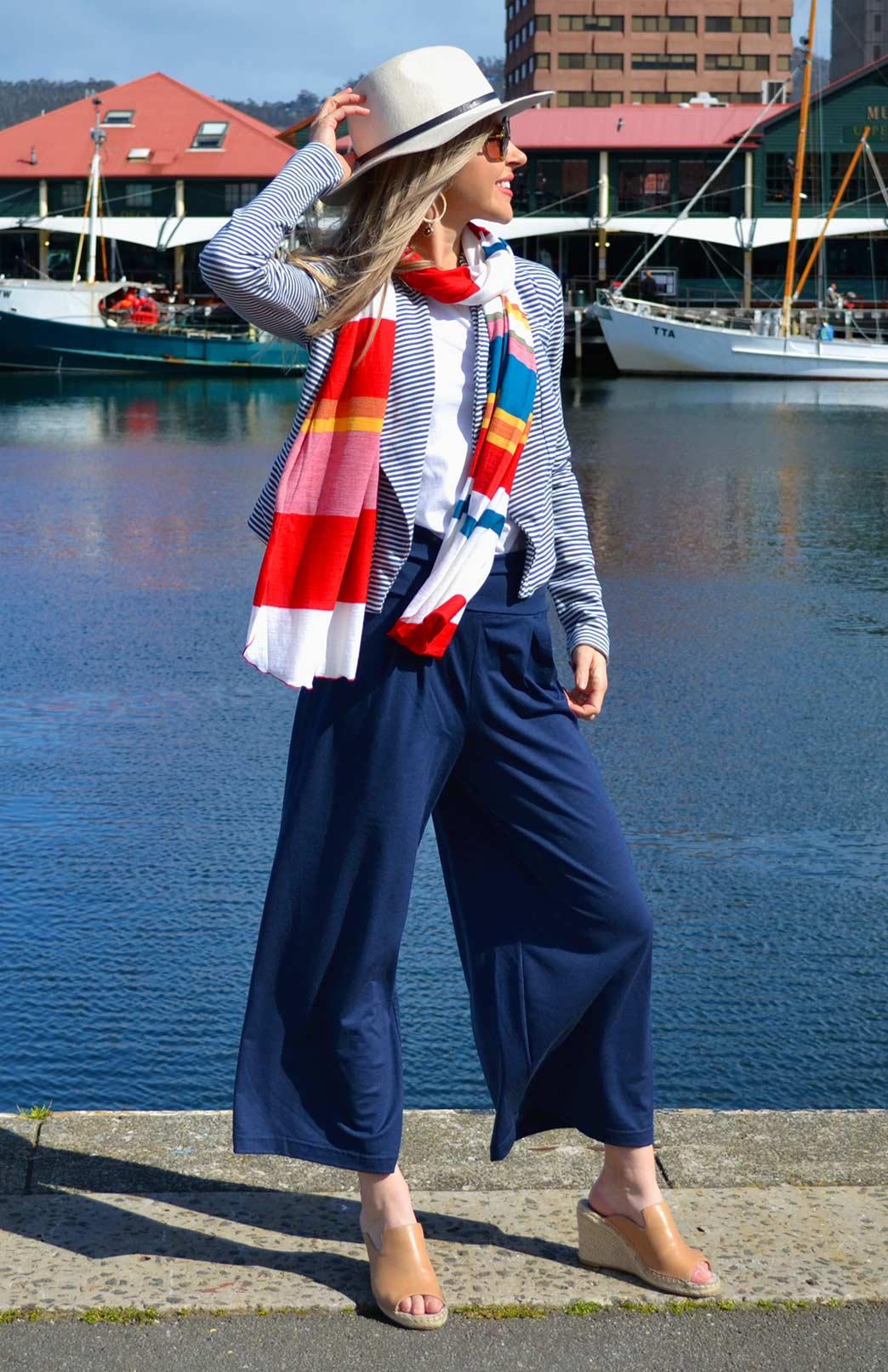 Wide Leg Crop Pant - Plain - Women's Merino Wool Crop Pants with Wide Legs and Waistband - Smitten Merino Tasmania Australia