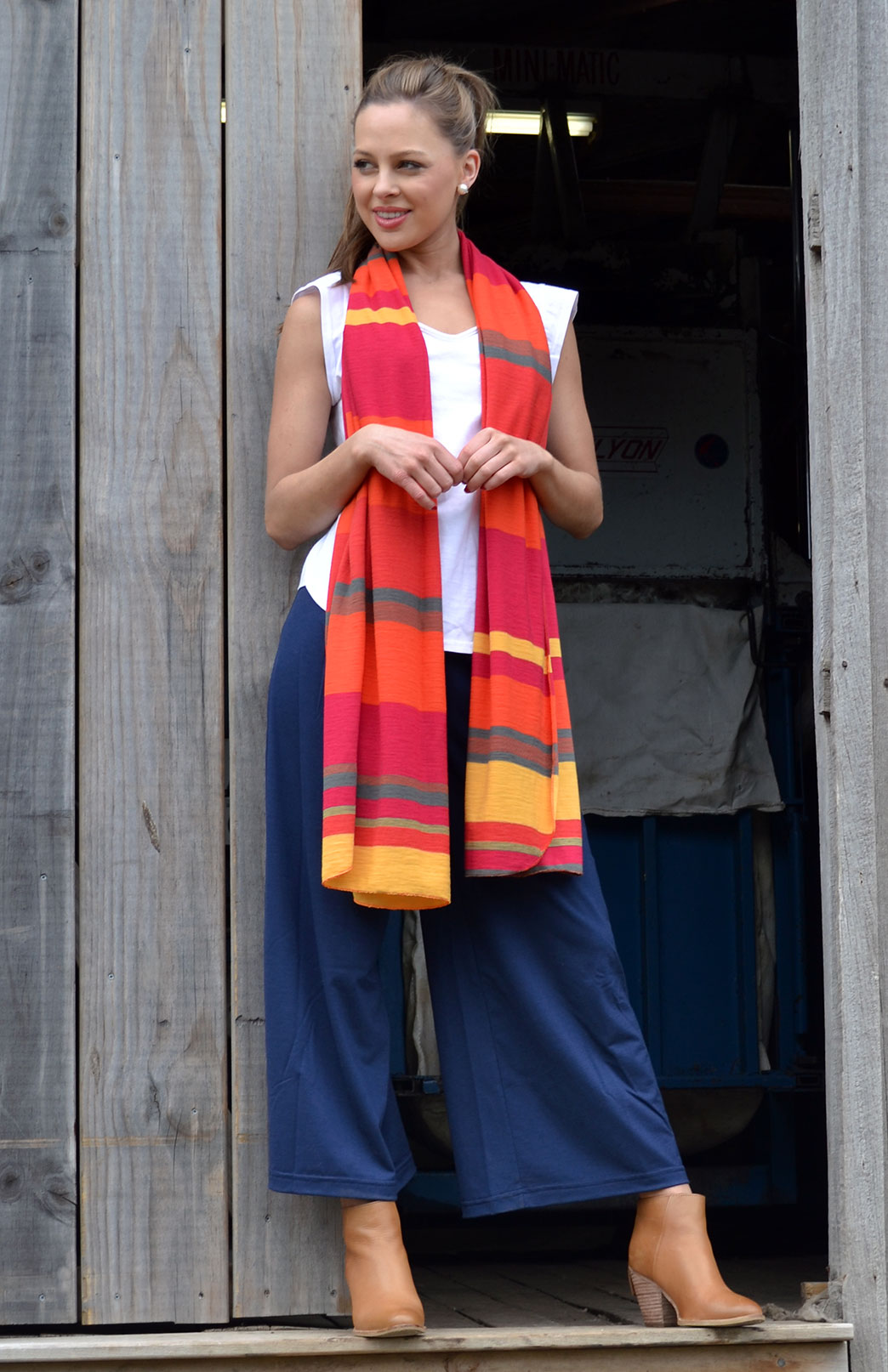 Wide Leg Crop Pant - Plain - Women's wool crop pants with wide legs and wide waistband - Smitten Merino Tasmania Australia