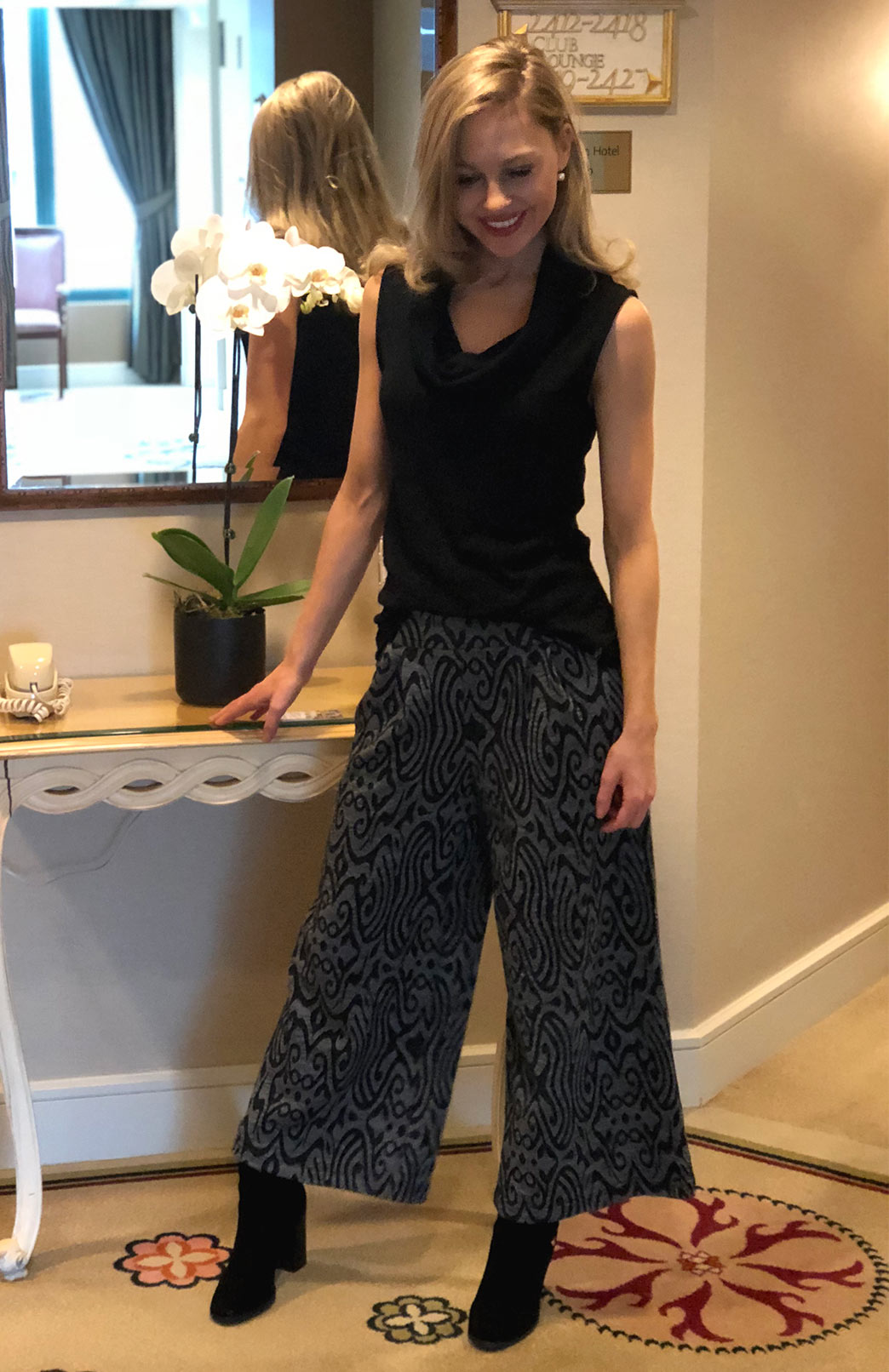 Wide Leg Crop Pant - Patterned - Women's wool crop pants with wide legs and wide waistband - Smitten Merino Tasmania Australia
