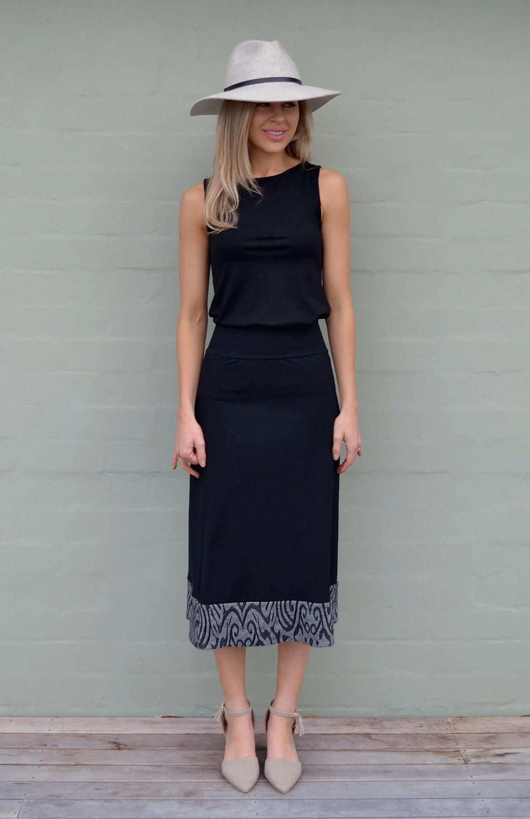 Midi Skirt - Women's Black and Grey A-Line Wool Summer Skirt - Smitten Merino Tasmania Australia