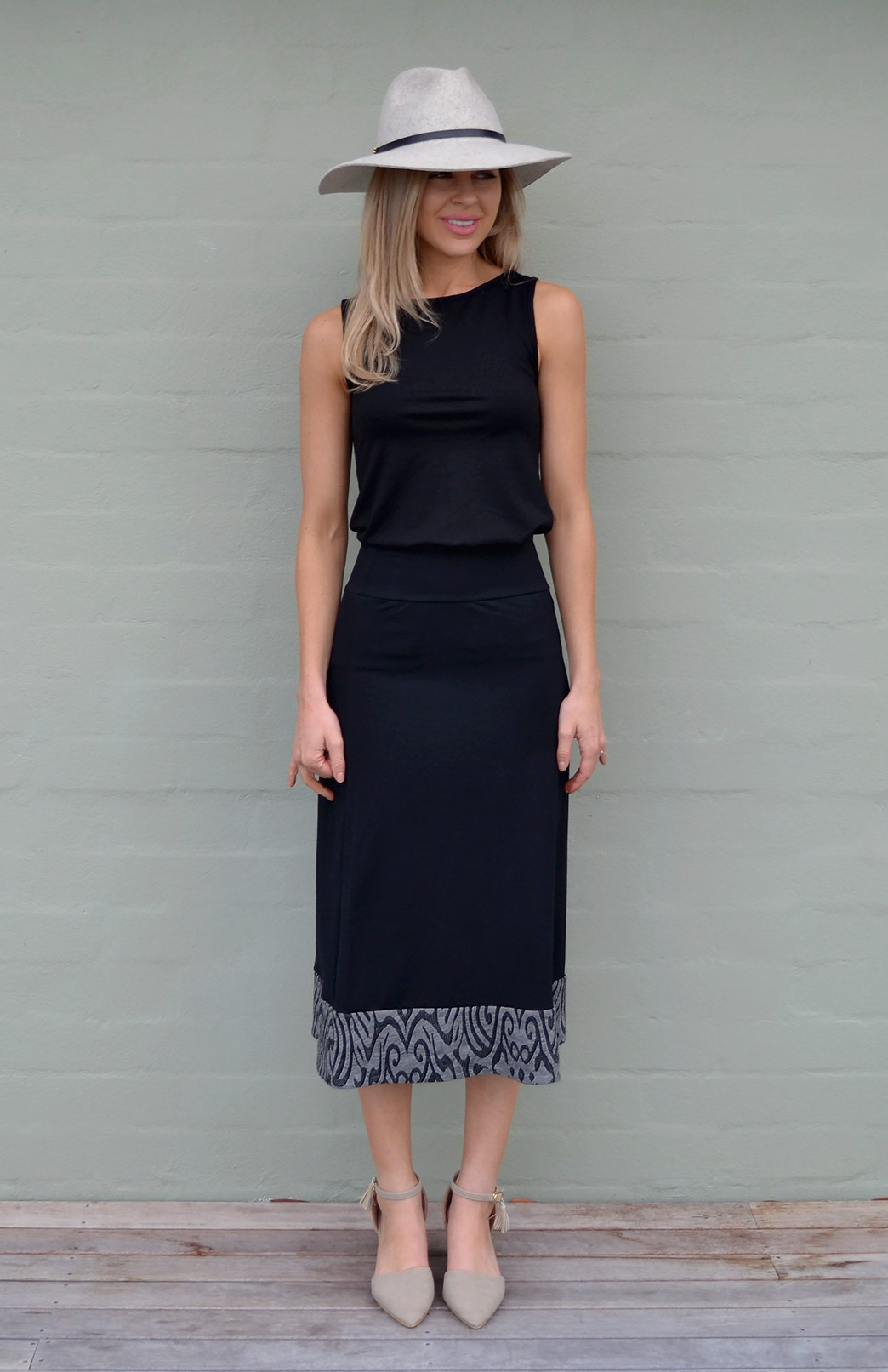Midi Skirt - Women's Black and Grey A-Line Wool Summer Skirt - Smitten Merino Tasmania Australia