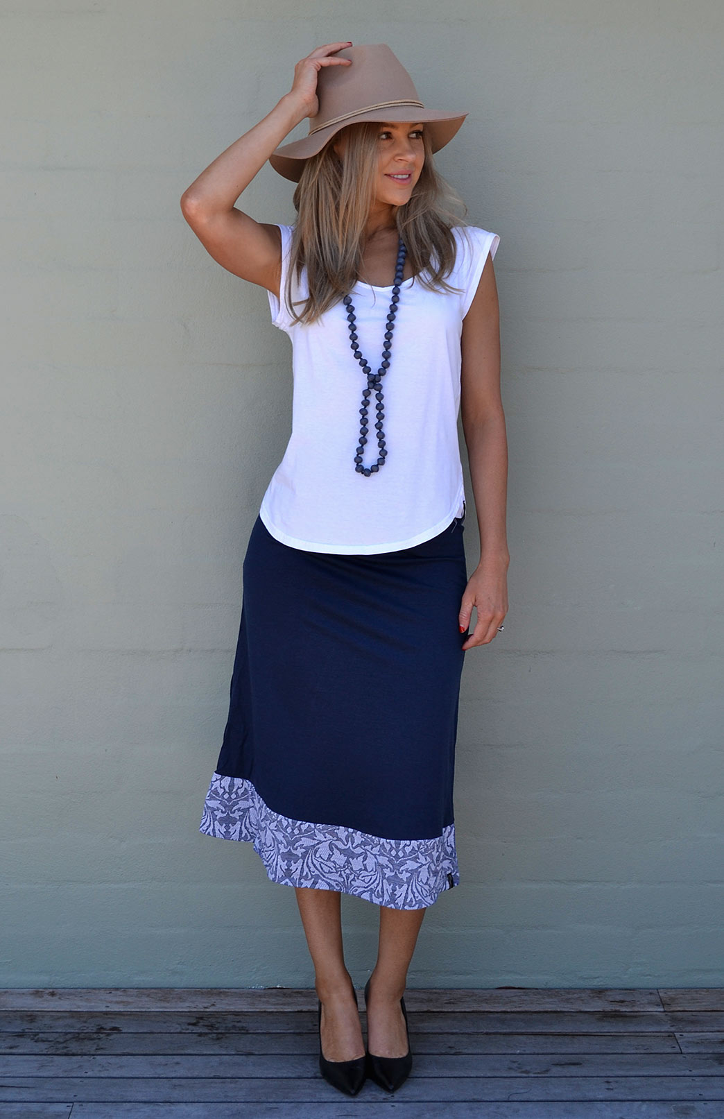 Midi Skirt in Indigo Abbey Floral Band