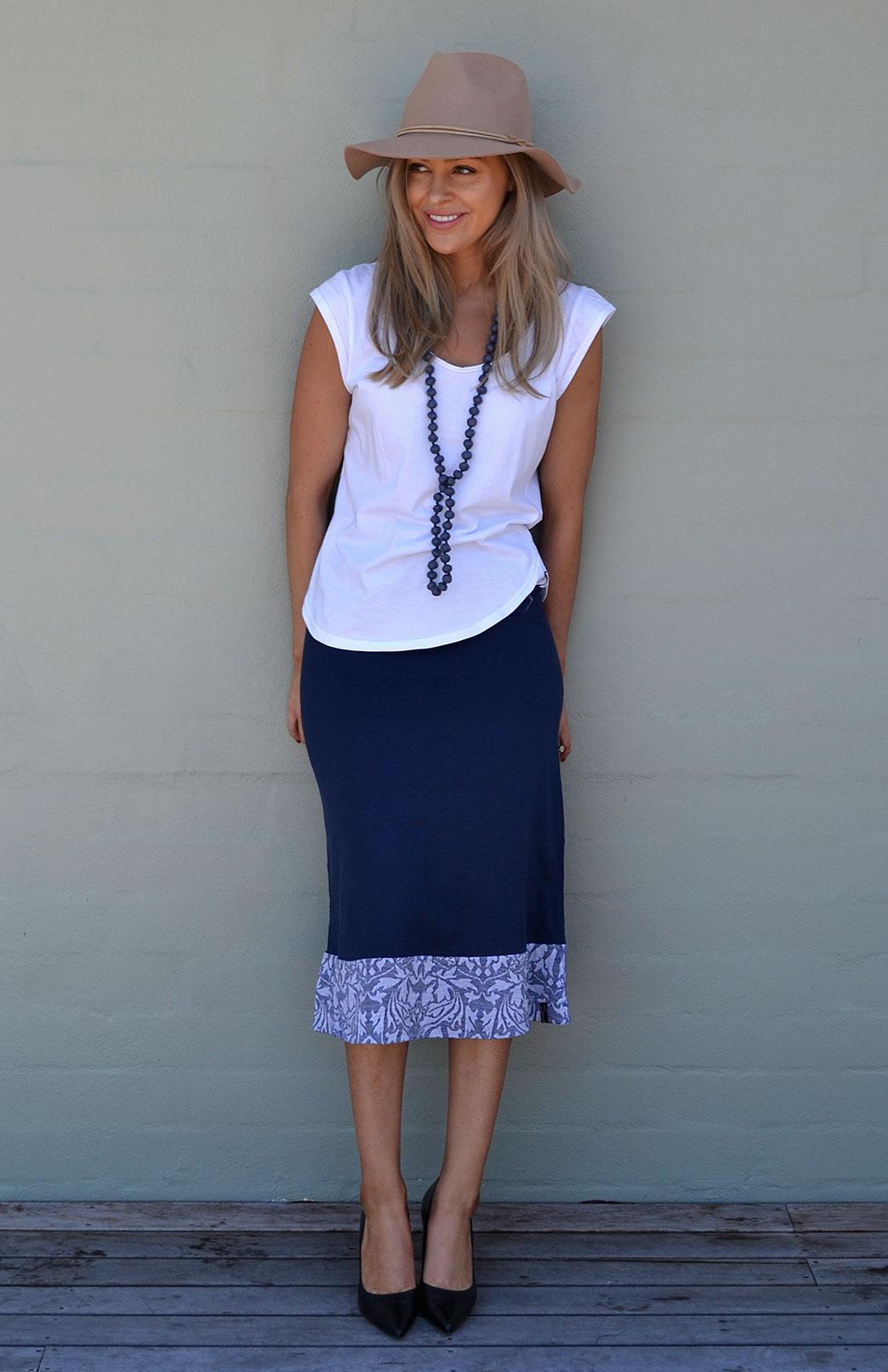 Midi Skirt - Women's Hem Detail Blue Floral A-Line Wool Skirt - Smitten Merino Tasmania Australia