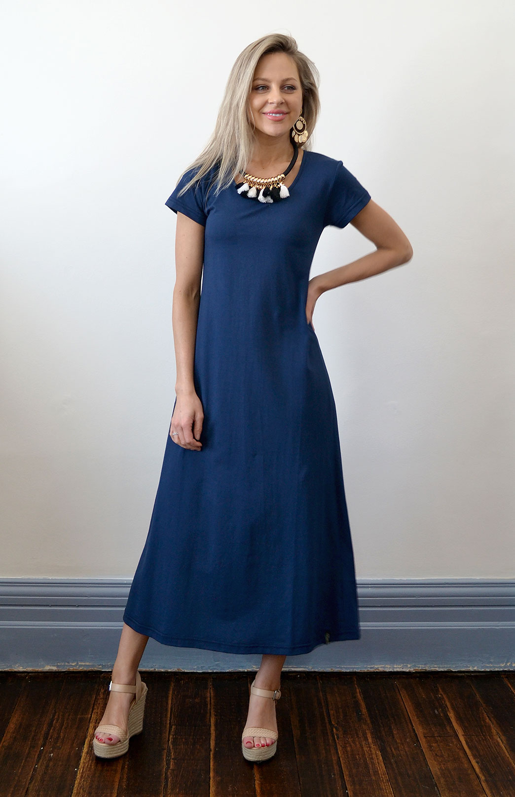 Organic Cotton T-Shirt Dress - Women's Indigo Organic Cotton Short Sleeve Dress - Smitten Merino Tasmania Australia