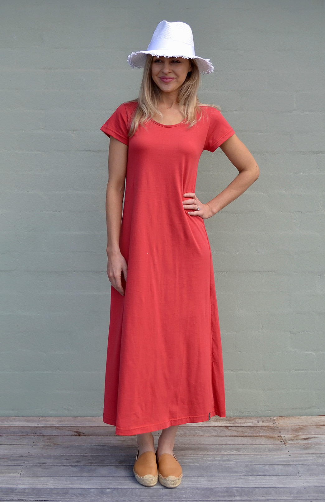 Organic Cotton T-Shirt Dress - Women's Ruby Red Organic Cotton Short Sleeve Dress - Smitten Merino Tasmania Australia