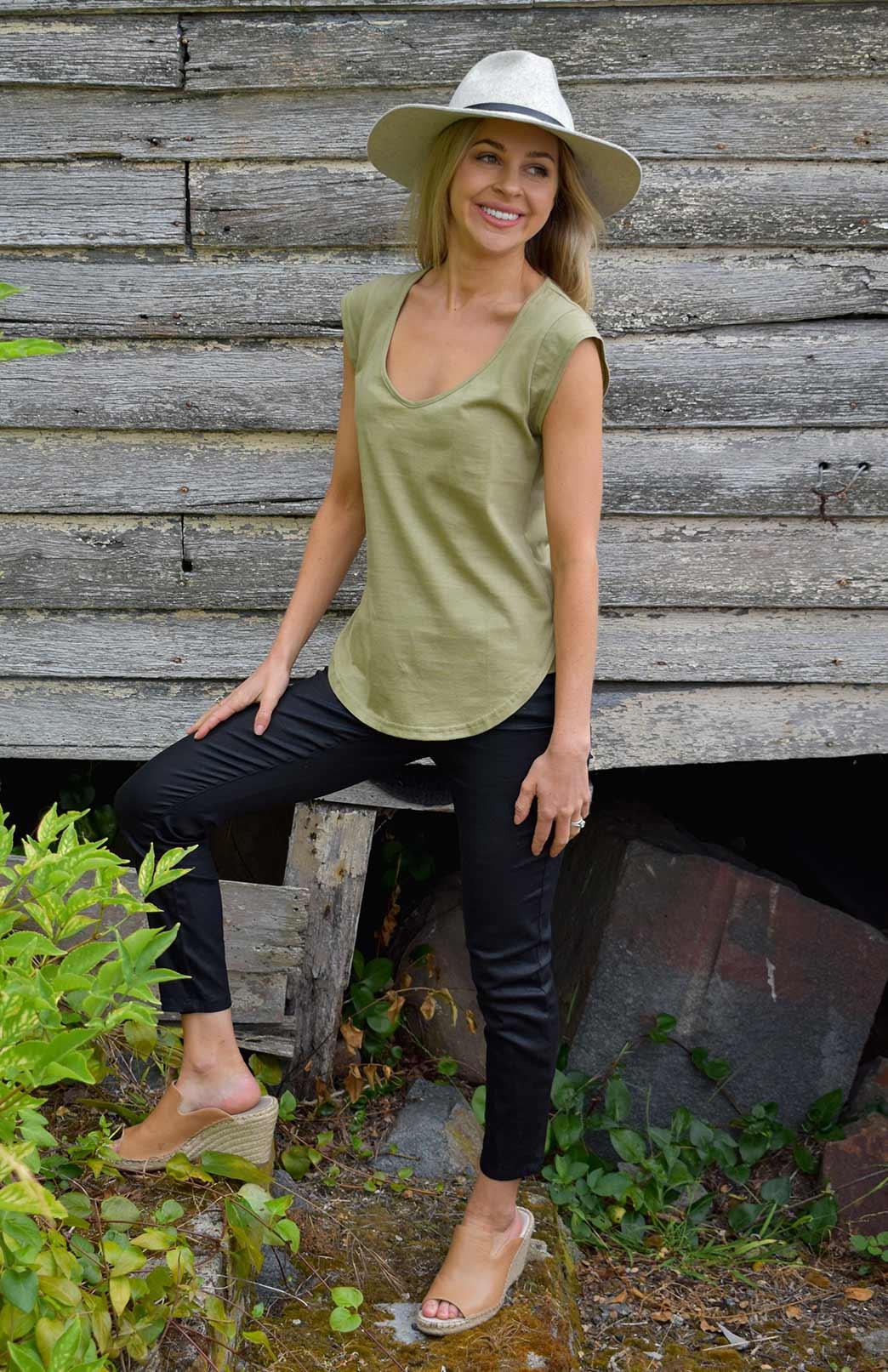 Cap Sleeve T-Shirt (Organic Cotton) - Women's Purple Organic Cotton Cap Sleeve T-Shirt with Sweetheart Neckline and Side Detailing - Smitten Merino Tasmania Australia