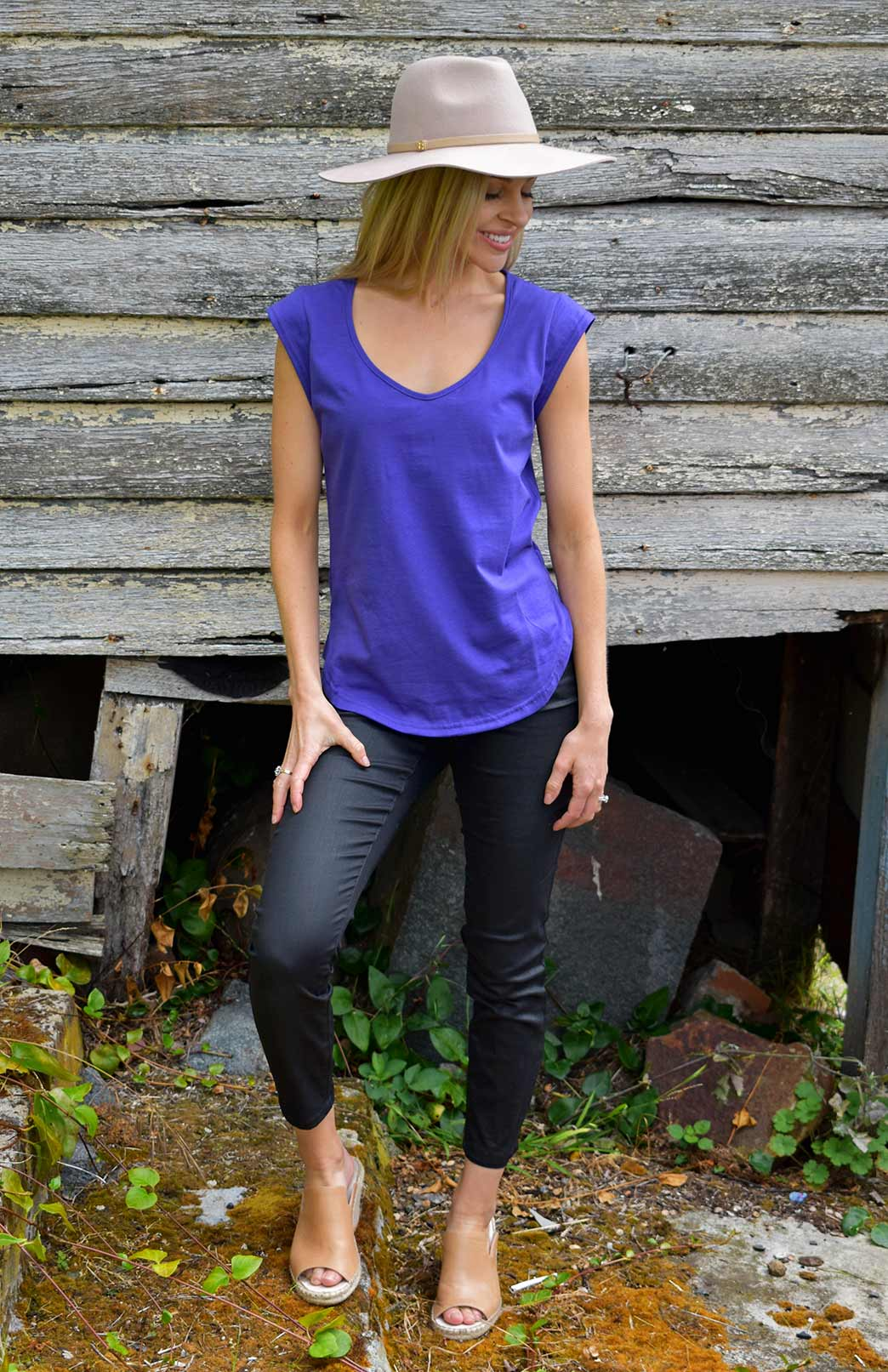 Cap Sleeve T-Shirt (Organic Cotton) - Women's Purple Organic Cotton Cap Sleeve T-Shirt with Sweetheart Neckline and Side Detailing - Smitten Merino Tasmania Australia