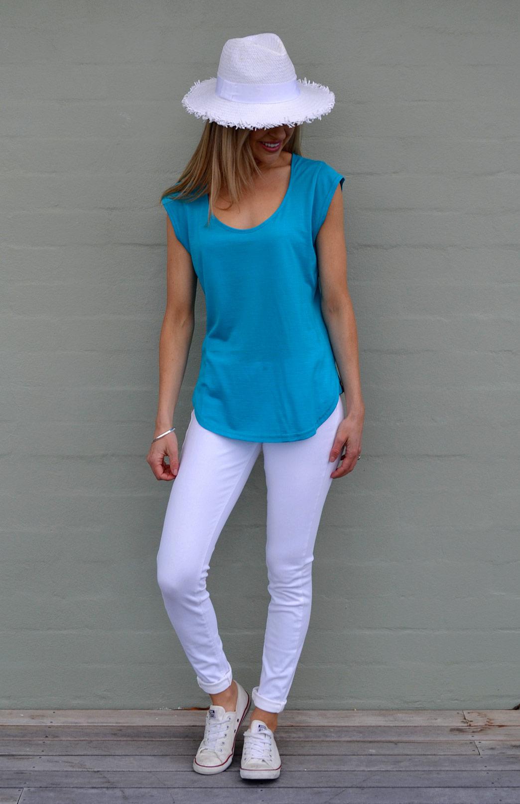 Cap Sleeve T-Shirt - Women's Cap Sleeve Merino Modal Blend Spring Summer Top - Smitten Merino Tasmania Australia