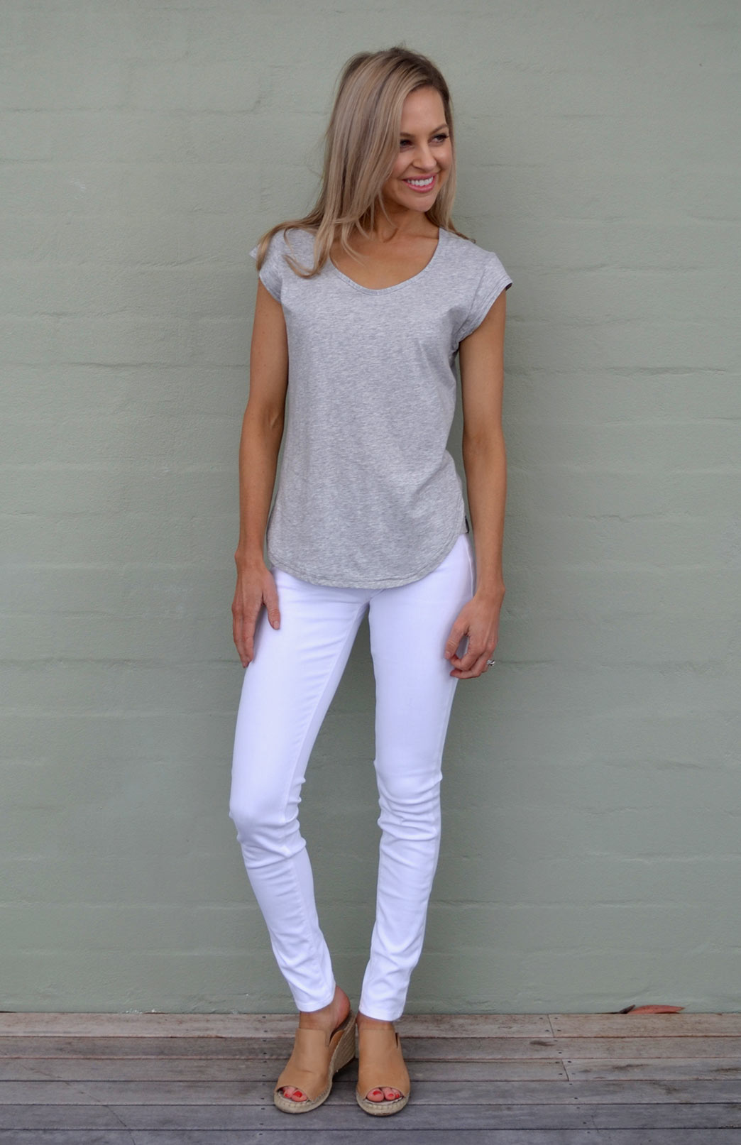 Cap Sleeve T-Shirt (Organic Cotton) - Women's Light Grey Marl Organic Cotton Cap Sleeve T-Shirt with Sweetheart Neckline and Side Detailing - Smitten Merino Tasmania Australia