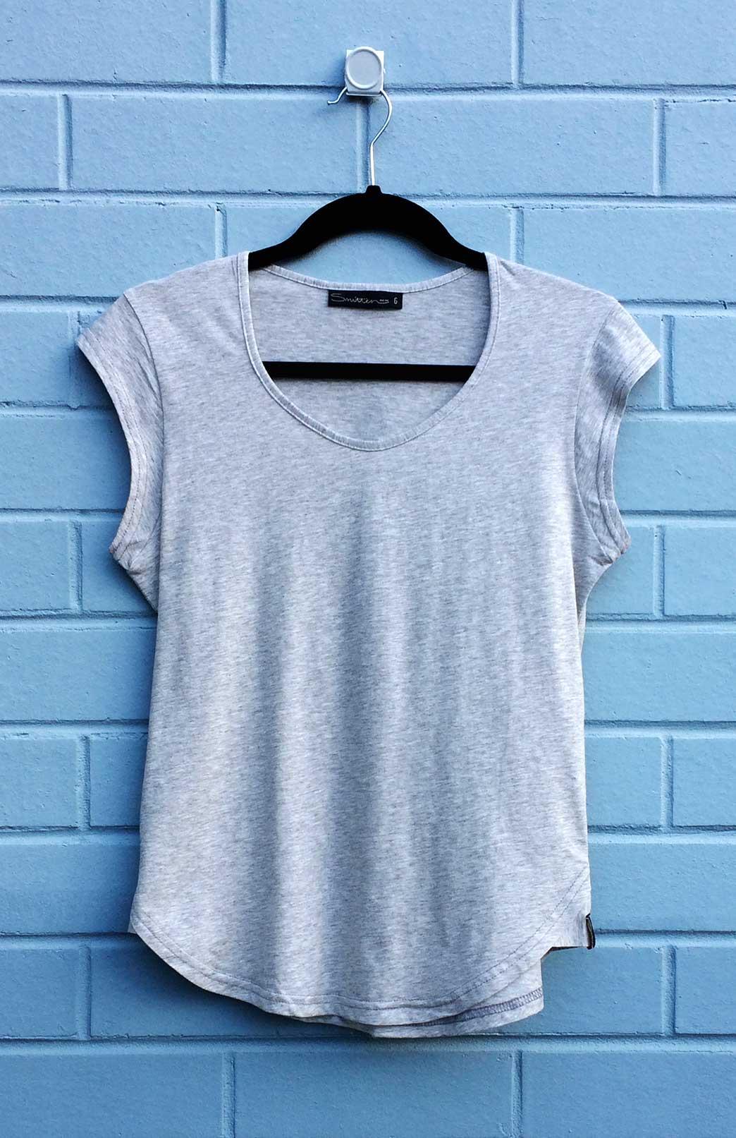 Cap Sleeve T Shirt Women S Light Grey Marl Organic