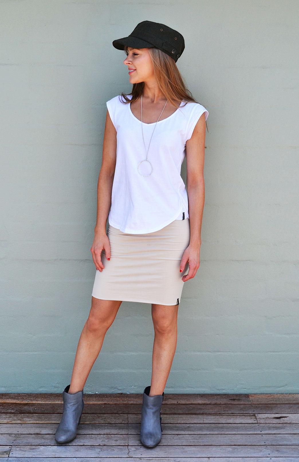Cap Sleeve T-Shirt - Cotton - Women's White Organic Cotton Cap Sleeve Summer T-Shirt - Smitten Merino Tasmania Australia