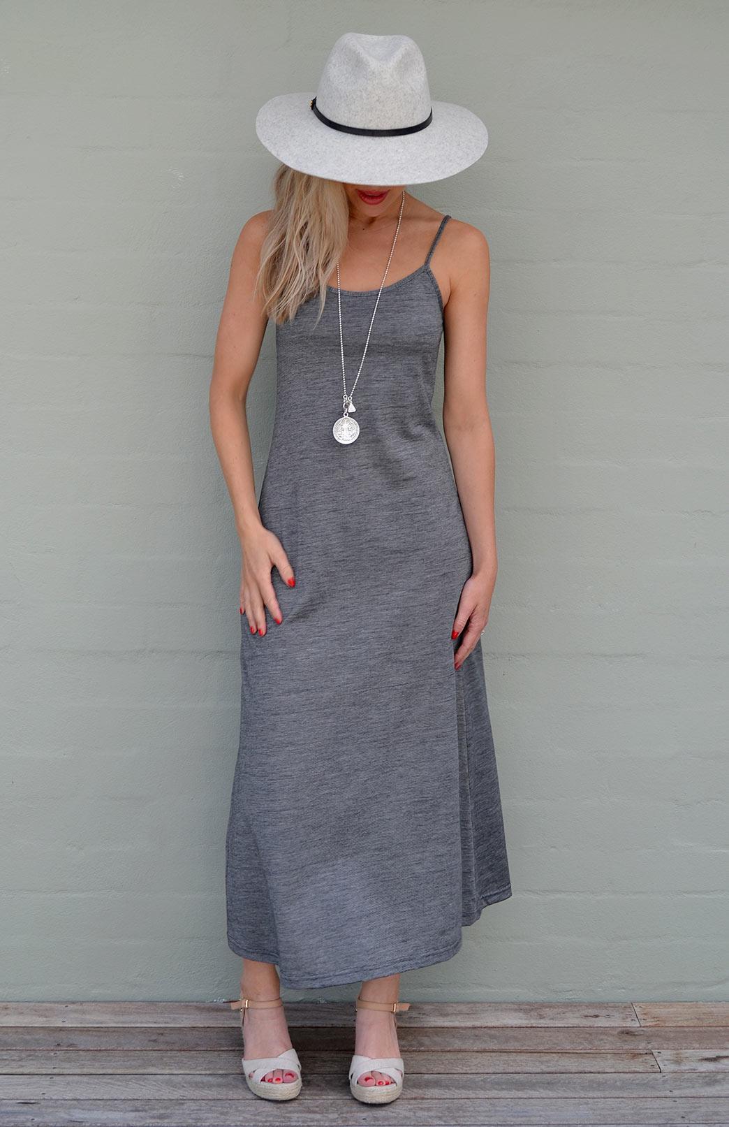 Cami Maxi Dress - Women's Organic Cotton and Merino Wool Fine Black and White Stripe Cami Maxi Dress - Smitten Merino Tasmania Australia