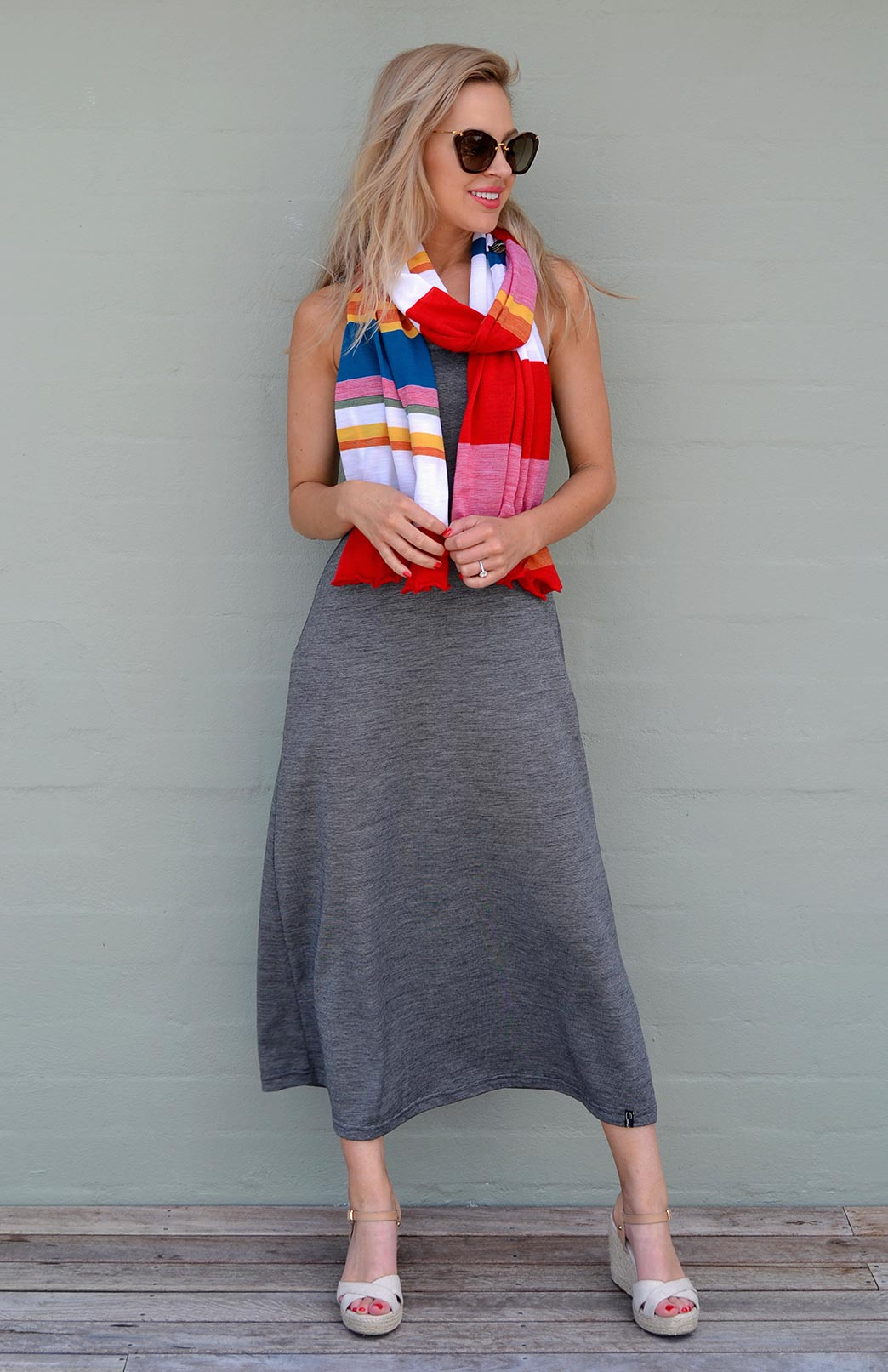 Scarves - Multi Striped - Women's Superfine Merino Wool Classic Wide Scarf - Smitten Merino Tasmania Australia