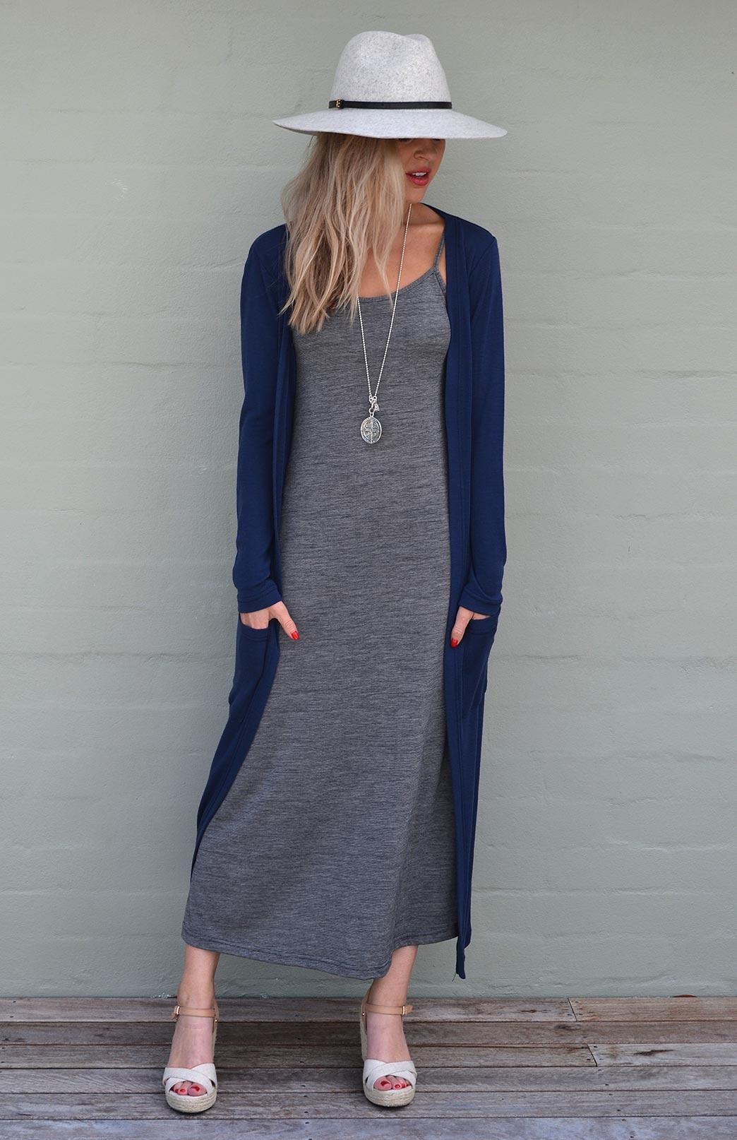 Organic Cotton/Merino Camisole Maxi Dress - Smitten Merino Tasmania Australia