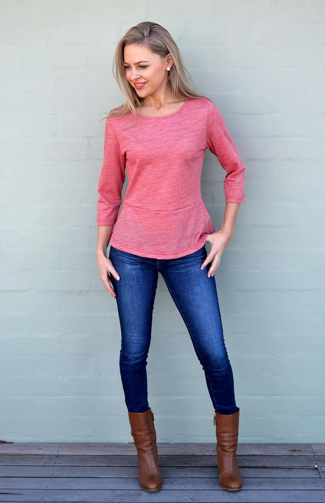 Peplum Top - 3/4 Sleeve - Women's Red Pinstripe Wool Cotton Blend 3/4 Sleeve Spring Top - Smitten Merino Tasmania Australia
