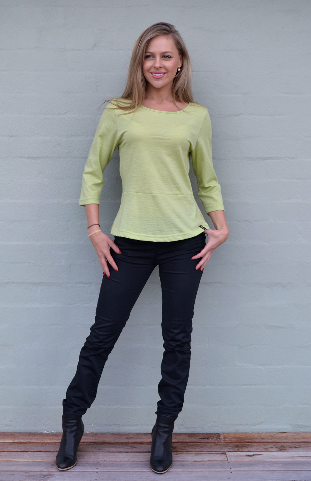 Peplum Top - 3/4 Sleeve - Women's Willow Green Wool Cotton Blend 3/4 Sleeve Spring Top - Smitten Merino Tasmania Australia