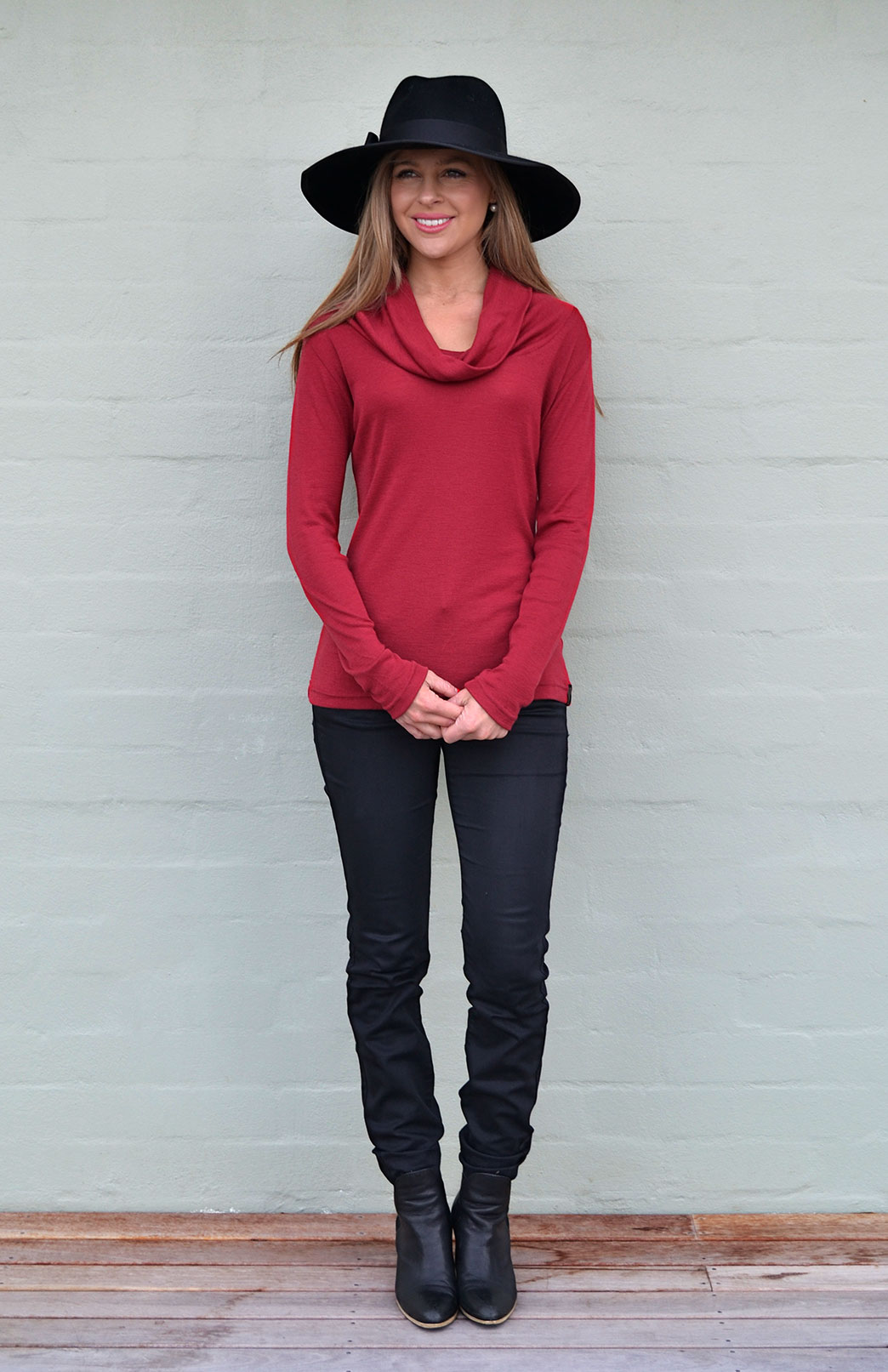 Cowl Neck Top - Long Sleeved - Women's Dark Red Wool Long Sleeved Cowl Neck Top - Smitten Merino Tasmania Australia