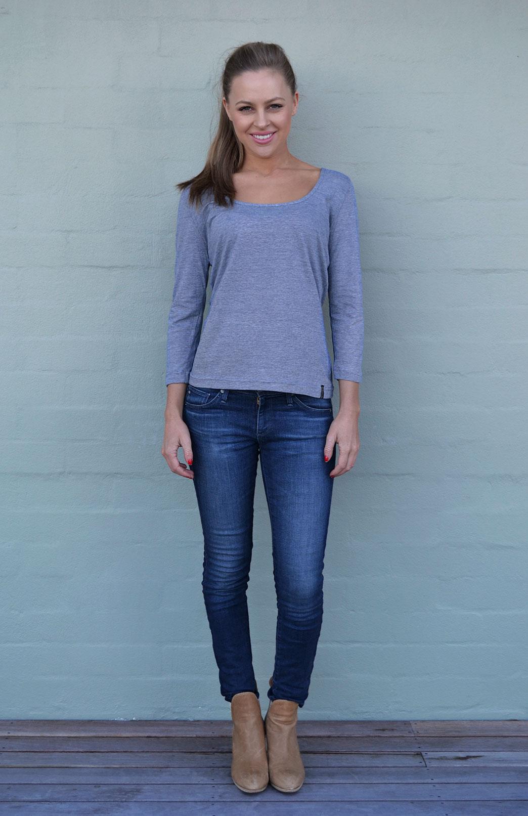 Super Scoop Top - Merino Wool & Organic Cotton Blend Super Scoop Fashion Layering Top - Smitten Merino Tasmania Australia