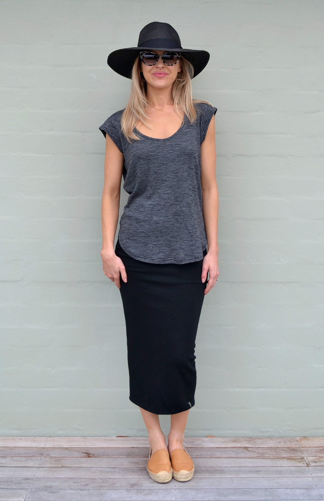 Long Tube Skirt - Women's Long Black Merino Wool Winter Skirt - Smitten Merino Tasmania Australia