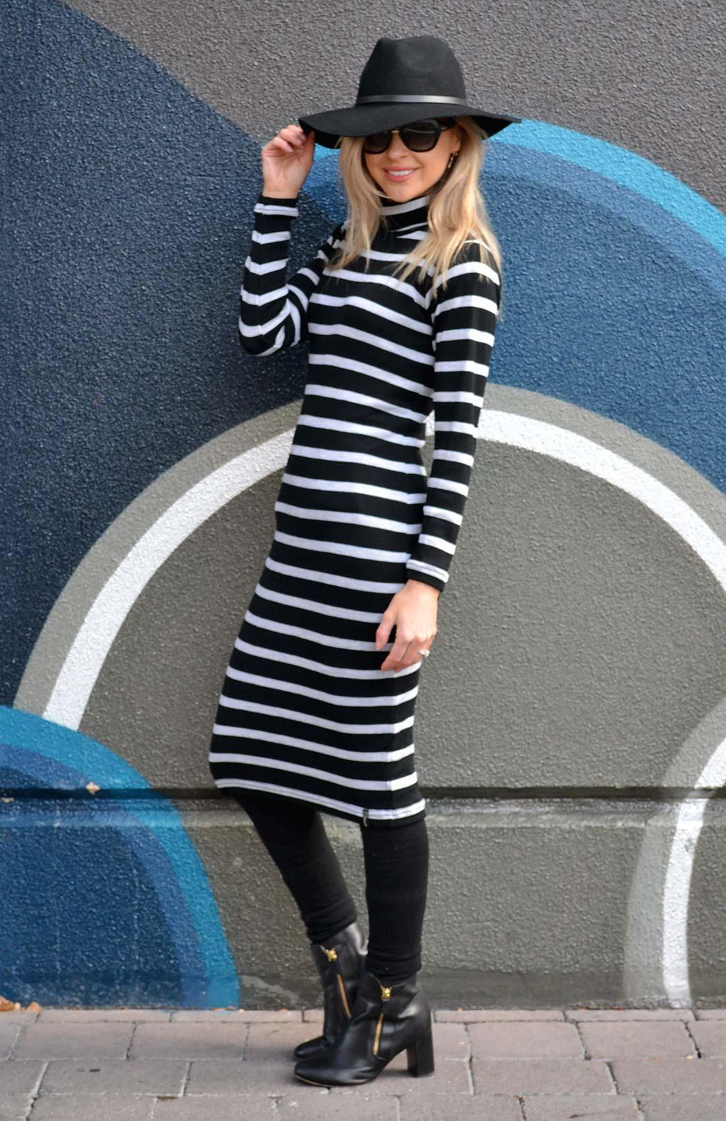 Polo Neck Dress - Women's Merino Wool Long Sleeve Polo Neck Dress - Smitten Merino Tasmania Australia