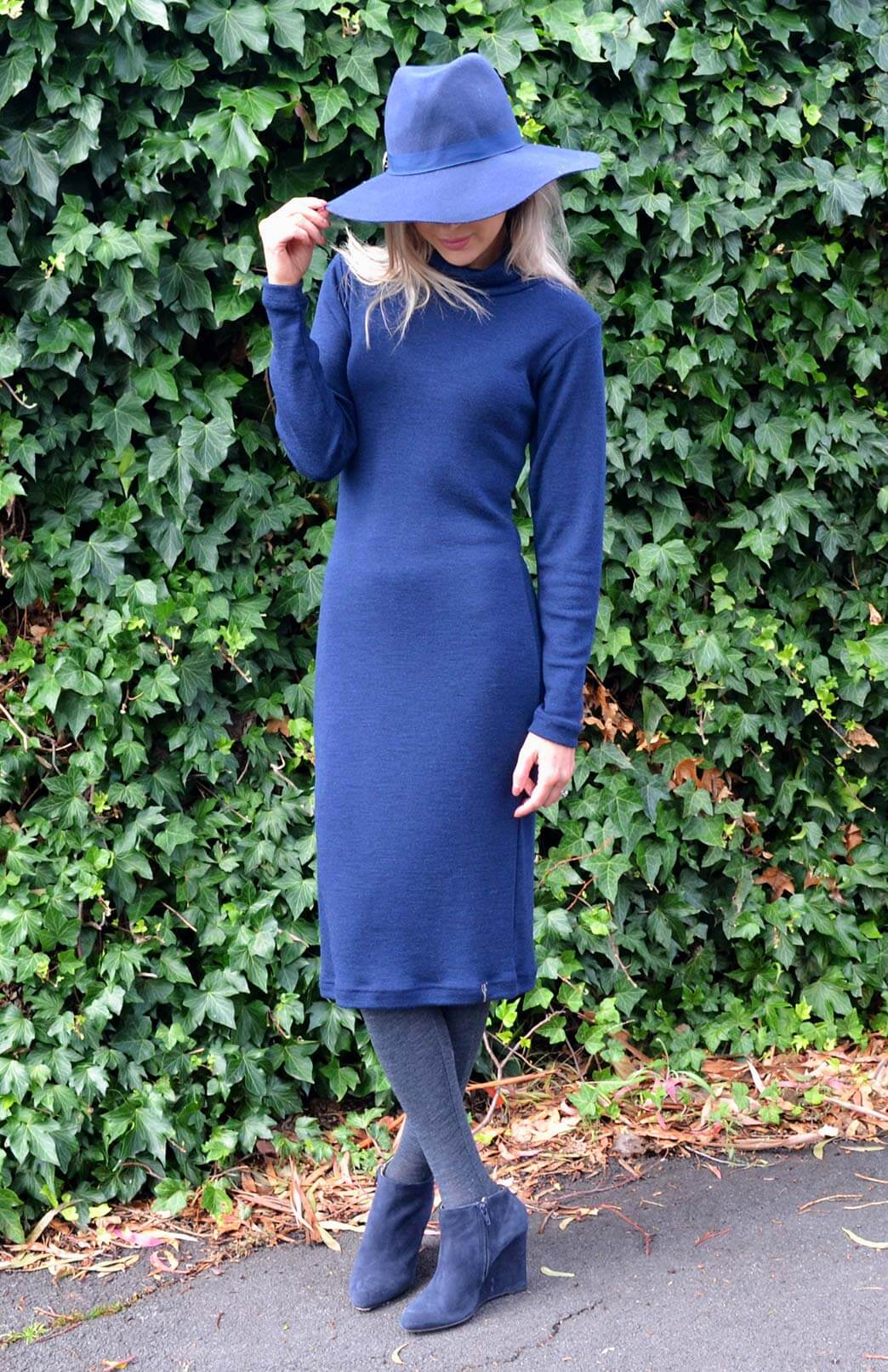 Polo Neck Dress - Women's Merino Wool Long Sleeve Polo Neck Dress - Smitten Merino Tasmania Australia