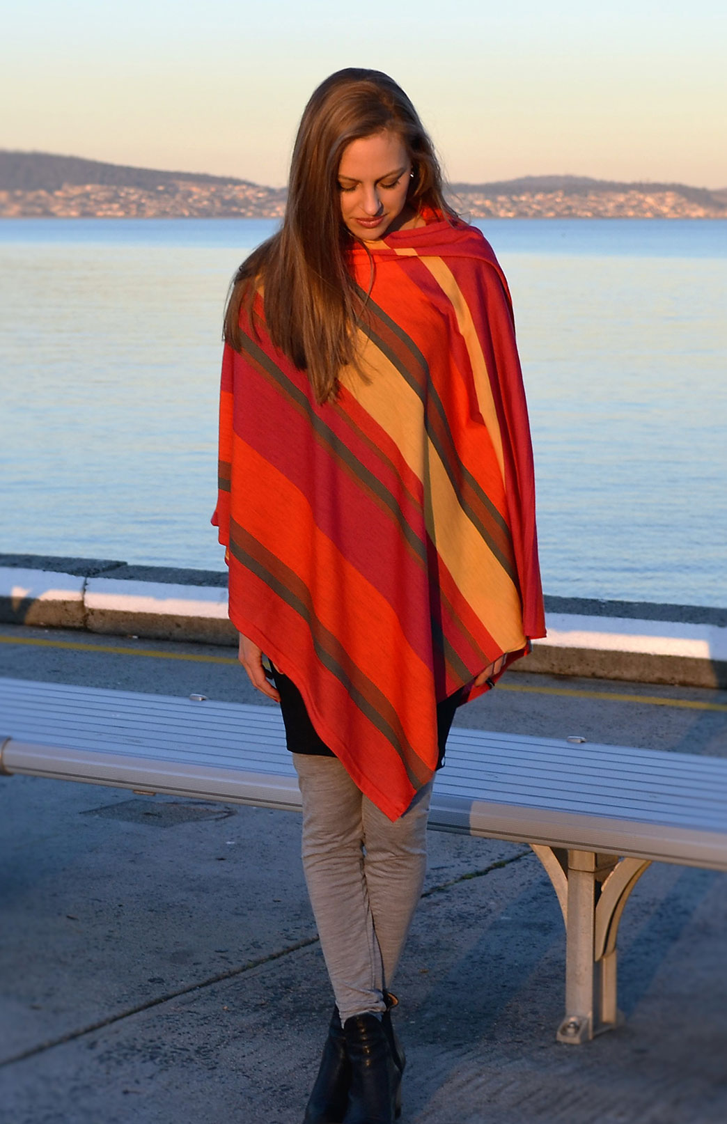Oversized Poncho - Striped & Patterned - Women's Oversized Orange and Yellow Striped Wool Poncho - Smitten Merino Tasmania Australia
